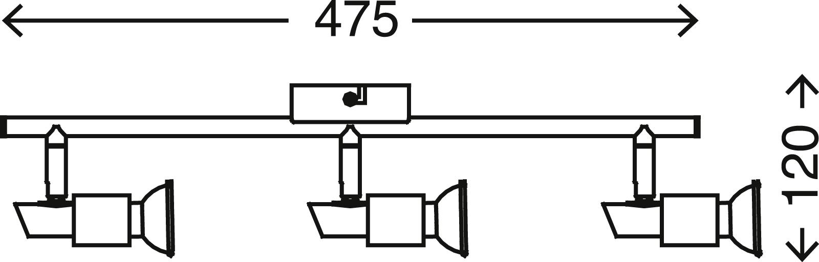 LED Spot Deckenleuchte, 47,5 cm, 9 W, Matt-Nickel