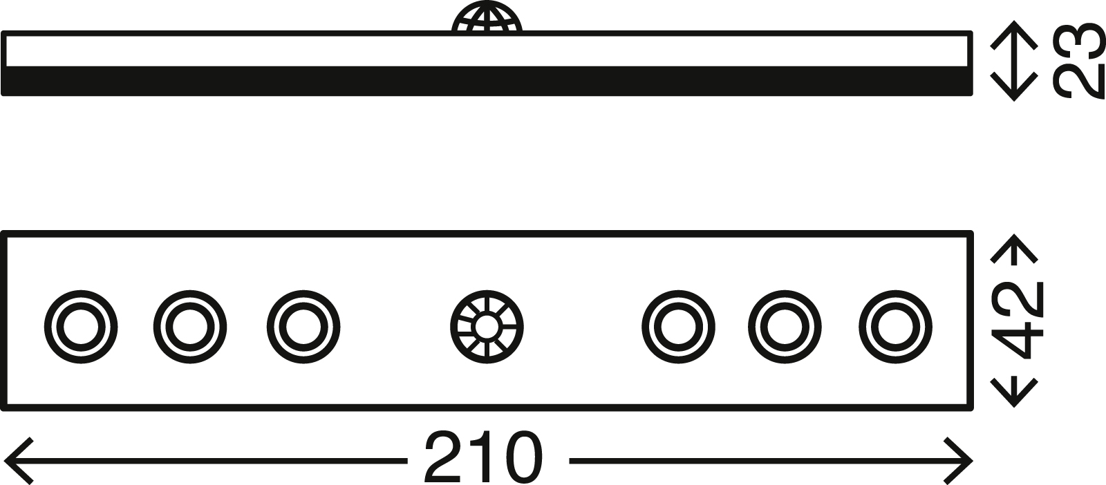 LED Unterbauleuchte, 21 cm, 0,48 W, Titan