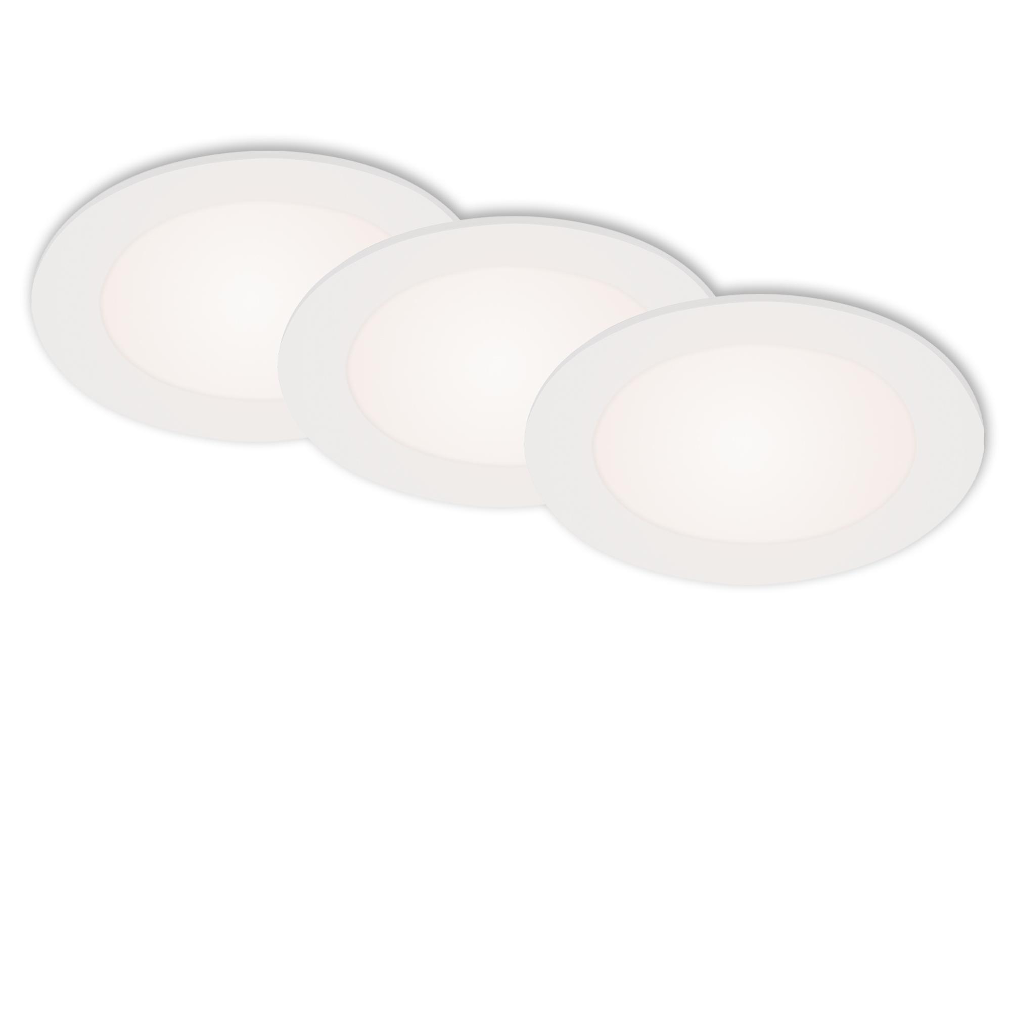 3er Set LED Einbauleuchte, Ø 11,4 cm, 6 W, Weiß