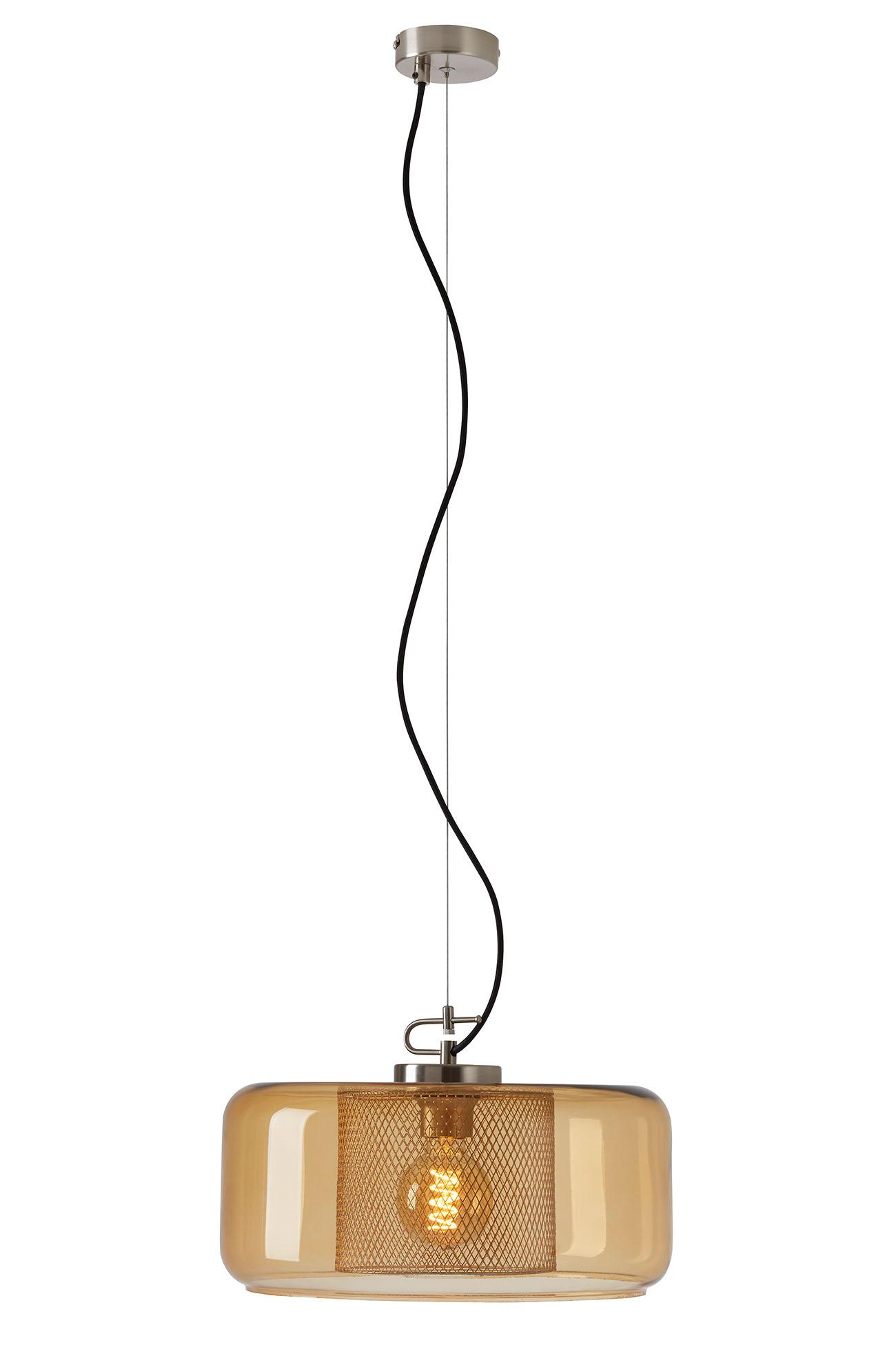 Pendelleuchte, Ø 37 cm, max. 40 W, Matt-Nickel-Amber