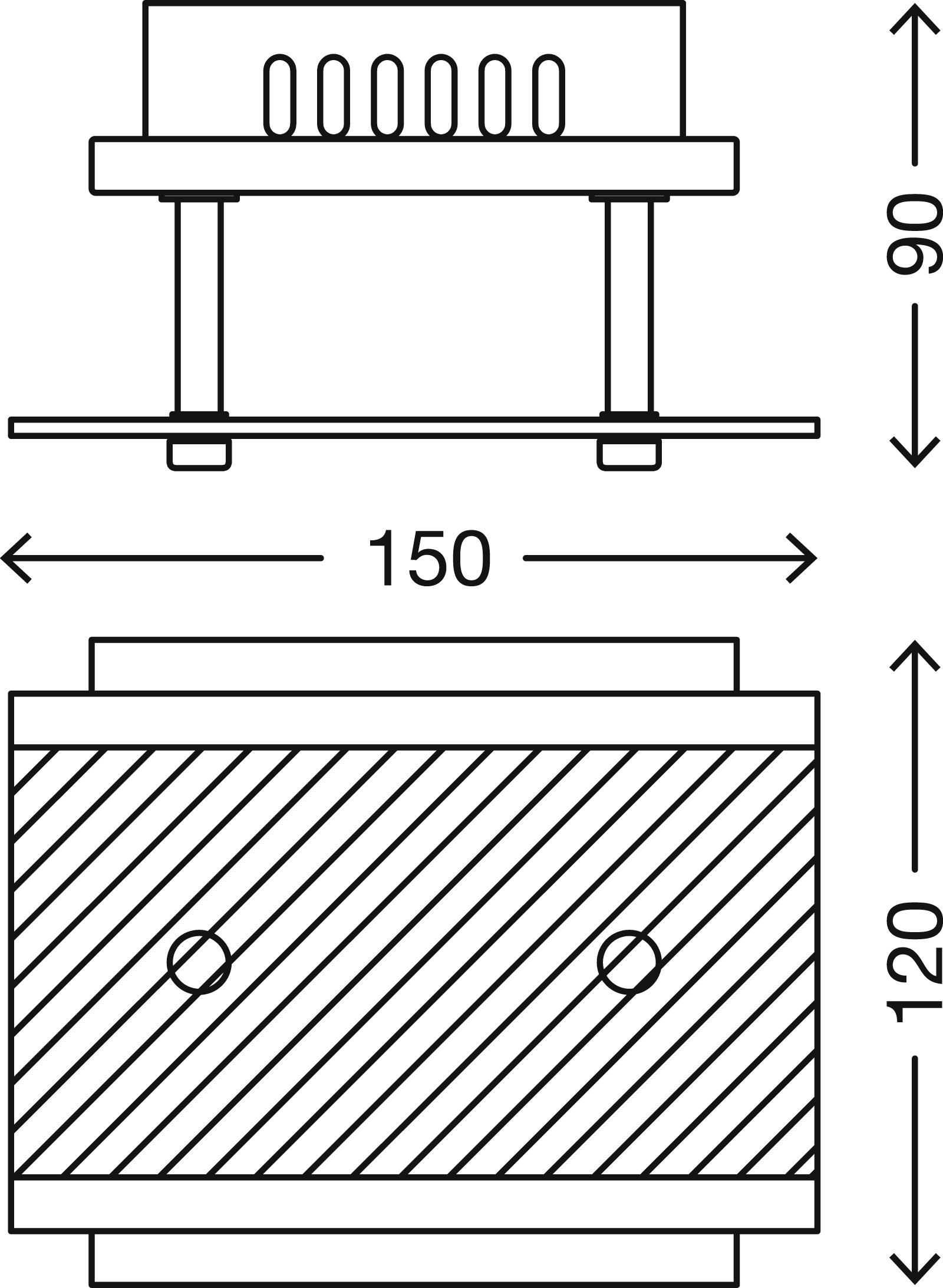 LED Deckenleuchte, 15 cm, 3 W, Matt-Nickel