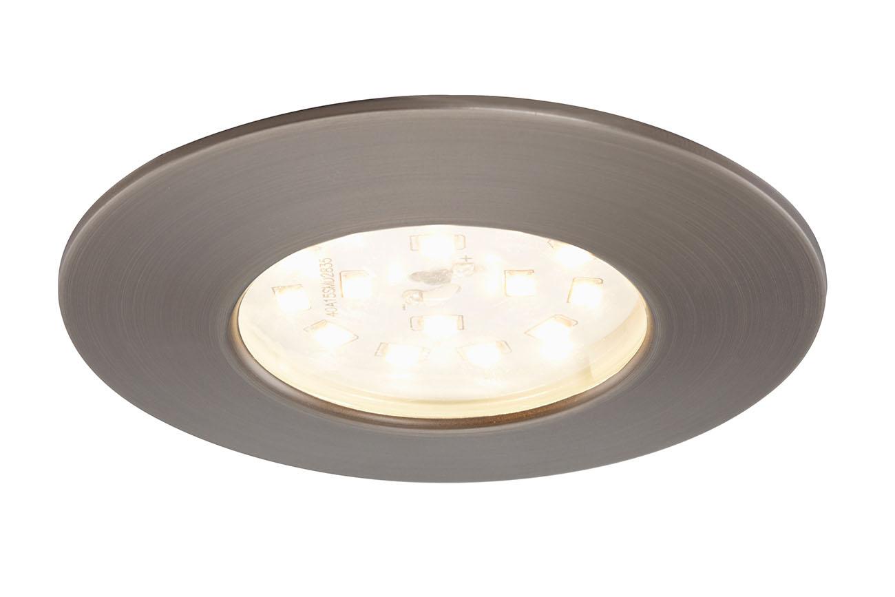 3er Set LED Einbauleuchte, Ø 7,5 cm, Silber