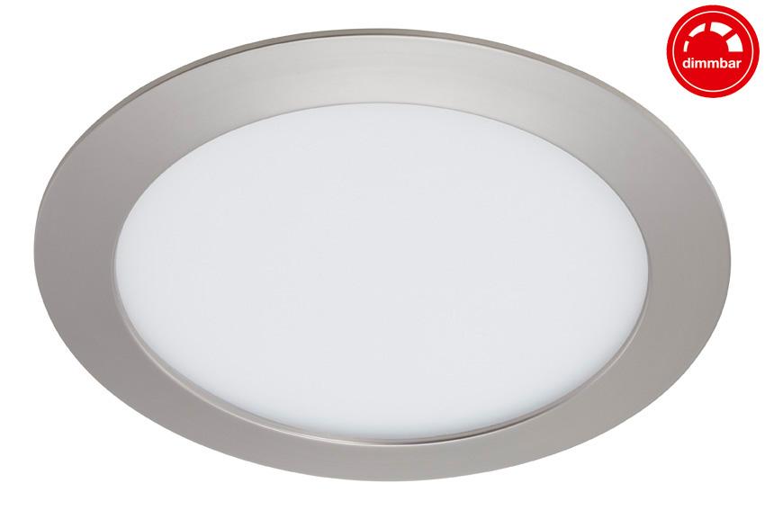 LED Einbauleuchte, Ø 17 cm, 12 W, Matt-Nickel