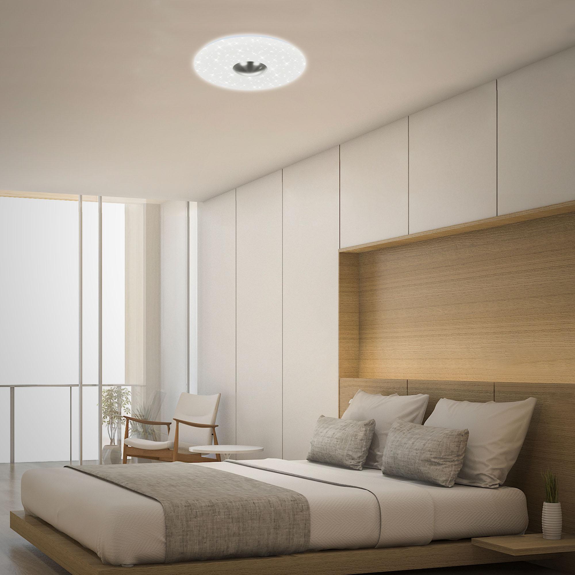 LED Deckenleuchte, Ø 38 cm, 18 W, Matt-Nickel-Weiß