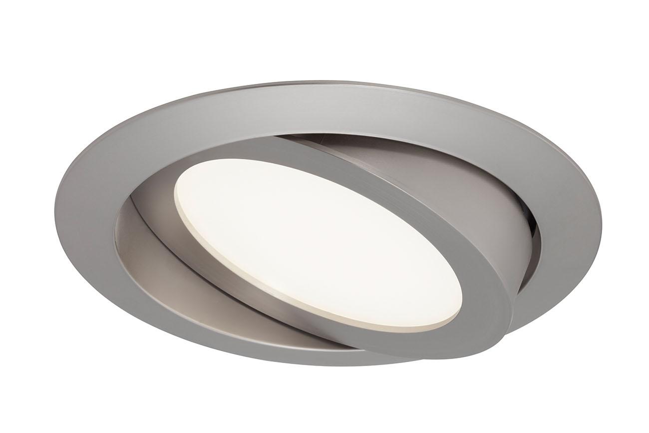 3er Set LED Einbauleuchte, Ø 14 cm, 8 W, Matt-Nickel