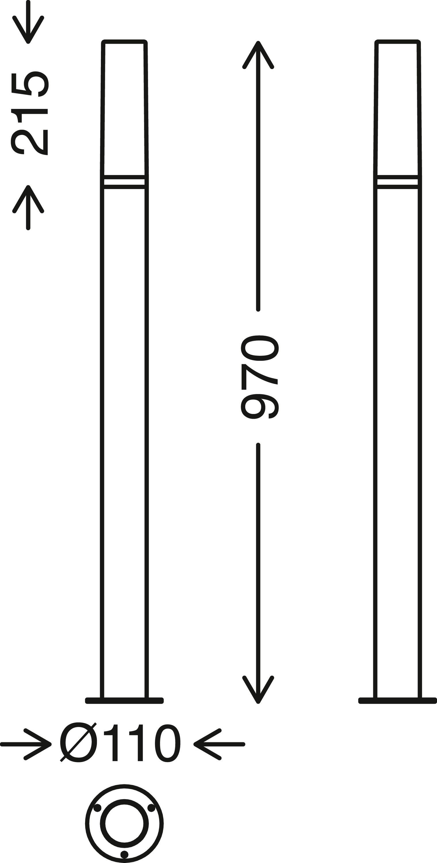 TELEFUNKEN LED Aussenstehleuchte, 97 cm, 8 W, Schwarz