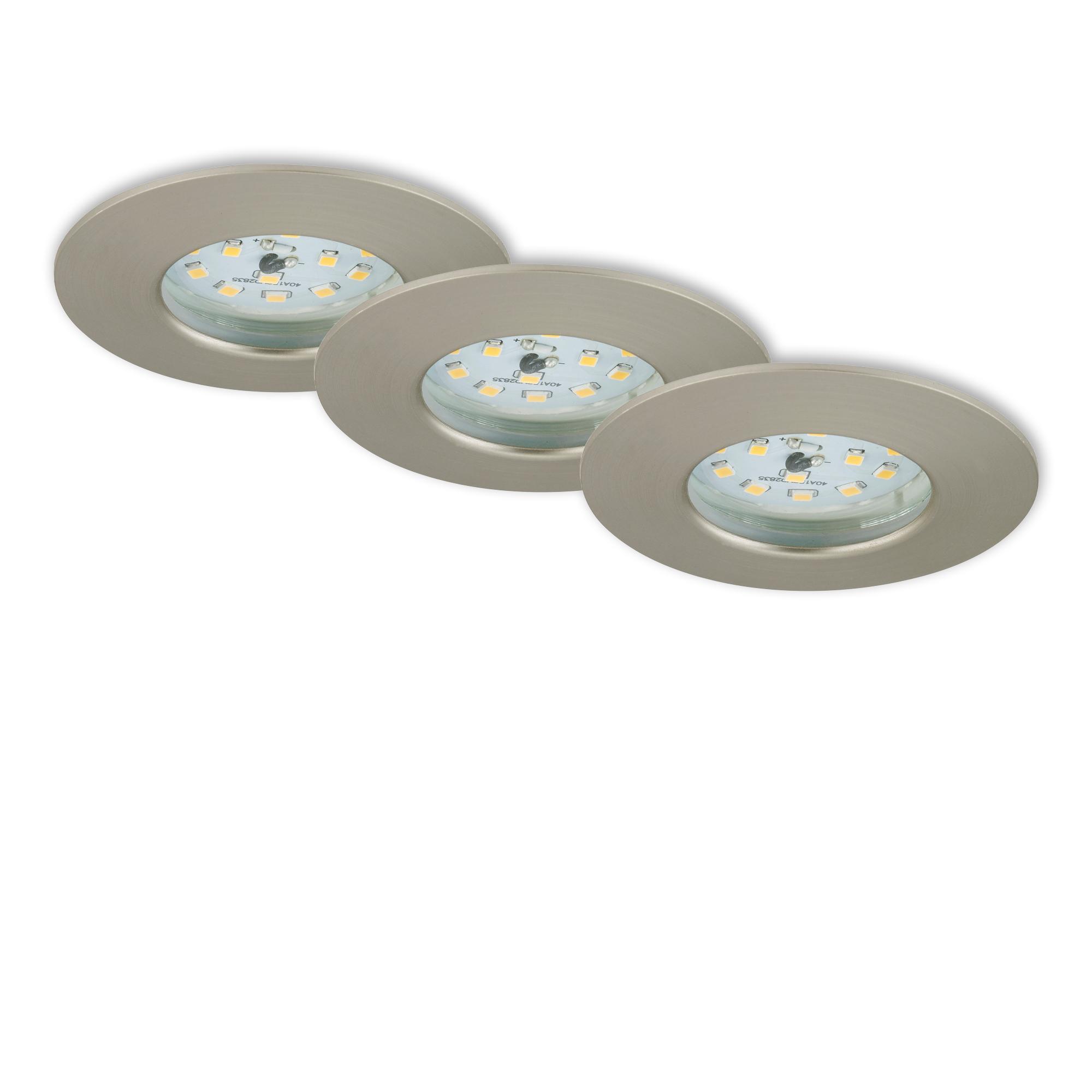 3er Set LED Einbauleuchte, Ø 7,5 cm, 6,5 W, Matt-Nickel