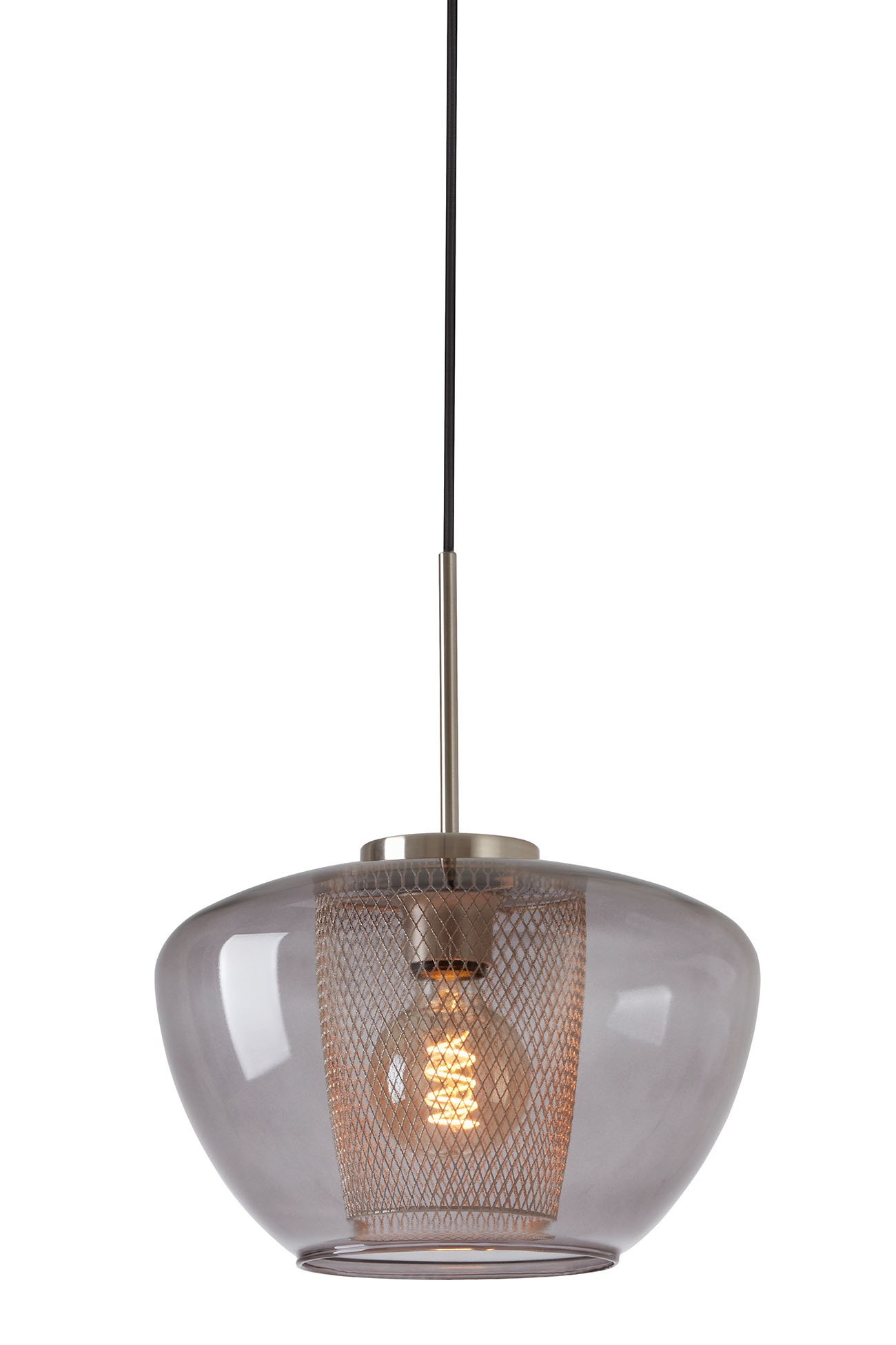 LED Pendelleuchte, Ø 30 cm, max. 40 W, Matt-Nickel