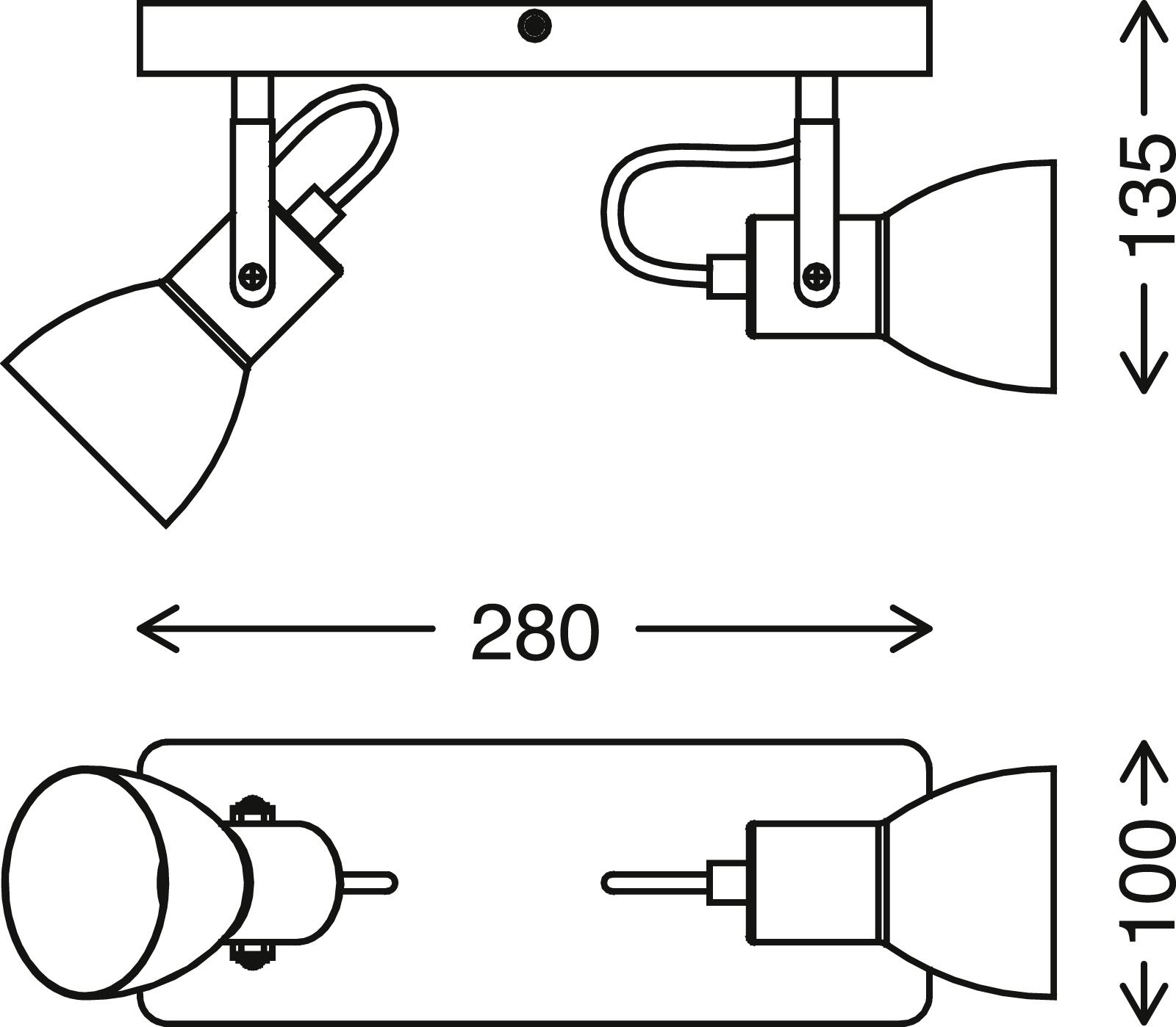 Spot Deckenleuchte, 28 cm, max. 35 W, Schwarz-Holz