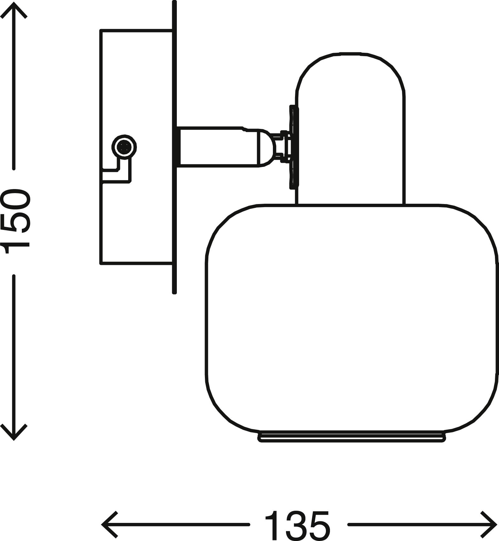 LED Spot Wandleuchte, Ø 10 cm, max. 40 W, Matt-Nickel