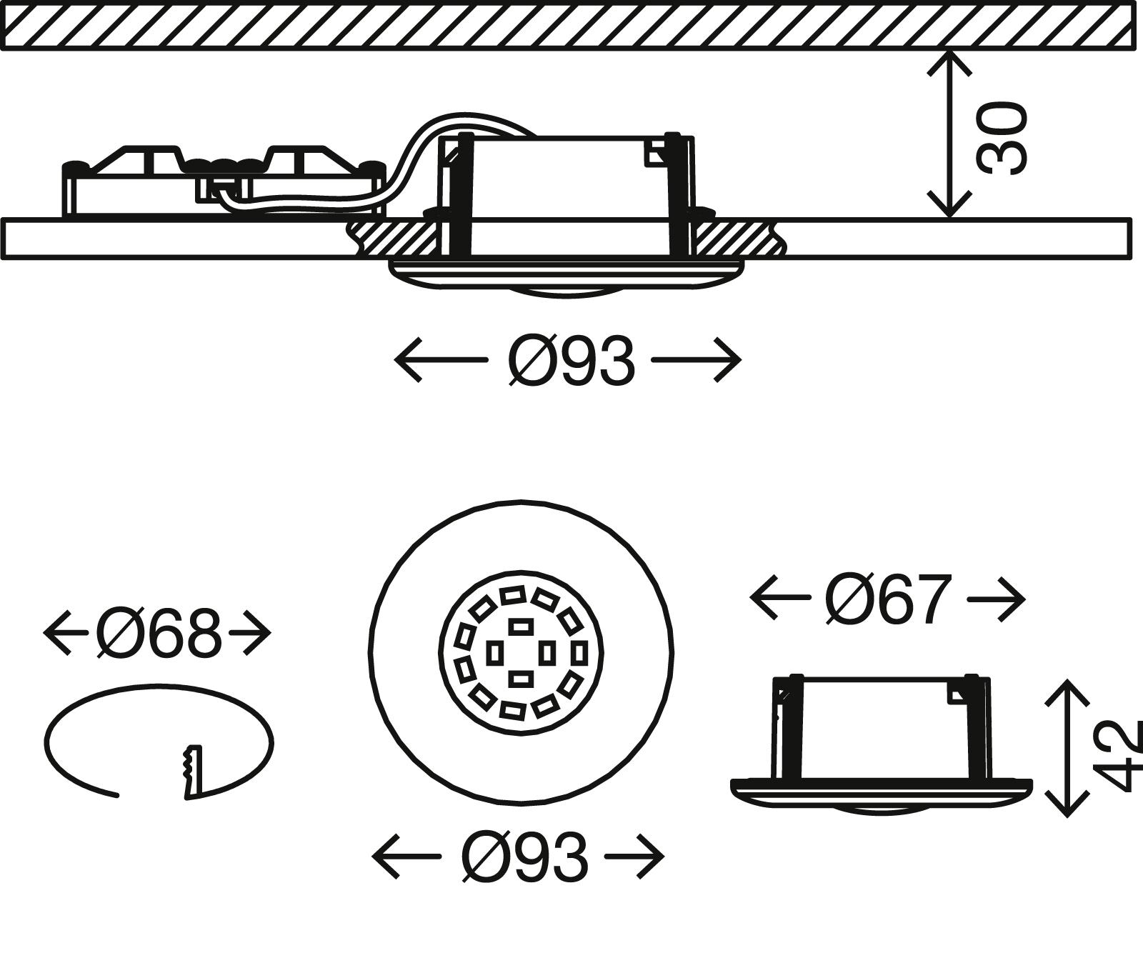 LED Einbauleuchte, Ø 9,3 cm, 5 W, Matt-Nickel