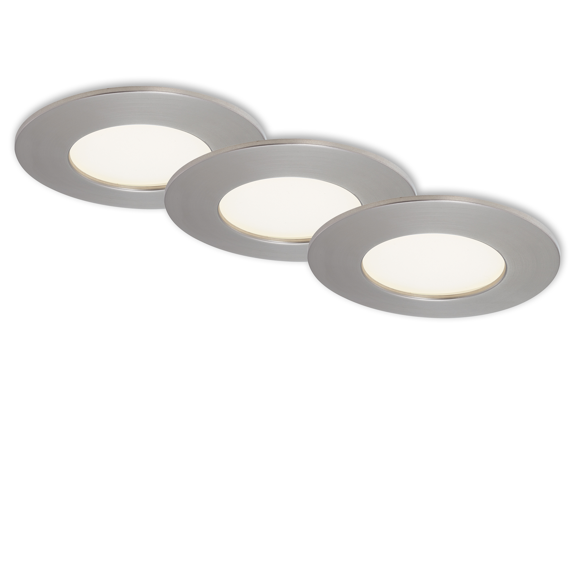 3er Set LED Einbauleuchte, Ø 8,5 cm, 4,8 W, Matt-Nickel