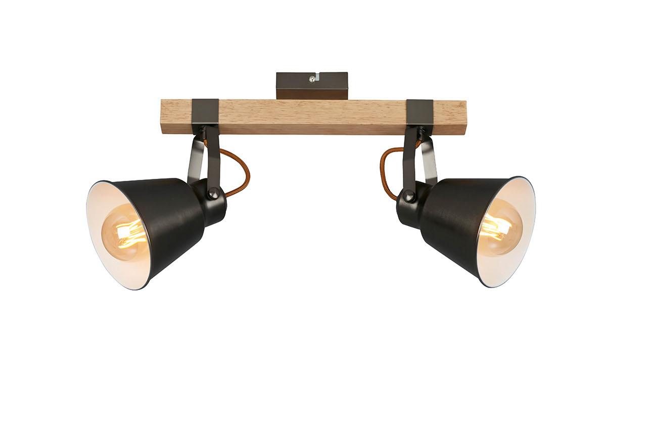 LED Spot Deckenleuchte, 55,3 cm, max. 40 W, Grau-Holz