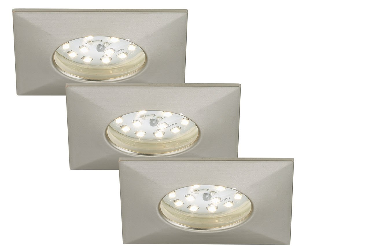 3er Set LED Einbauleuchte, 7,5 cm, 5 W, Matt-Nickel
