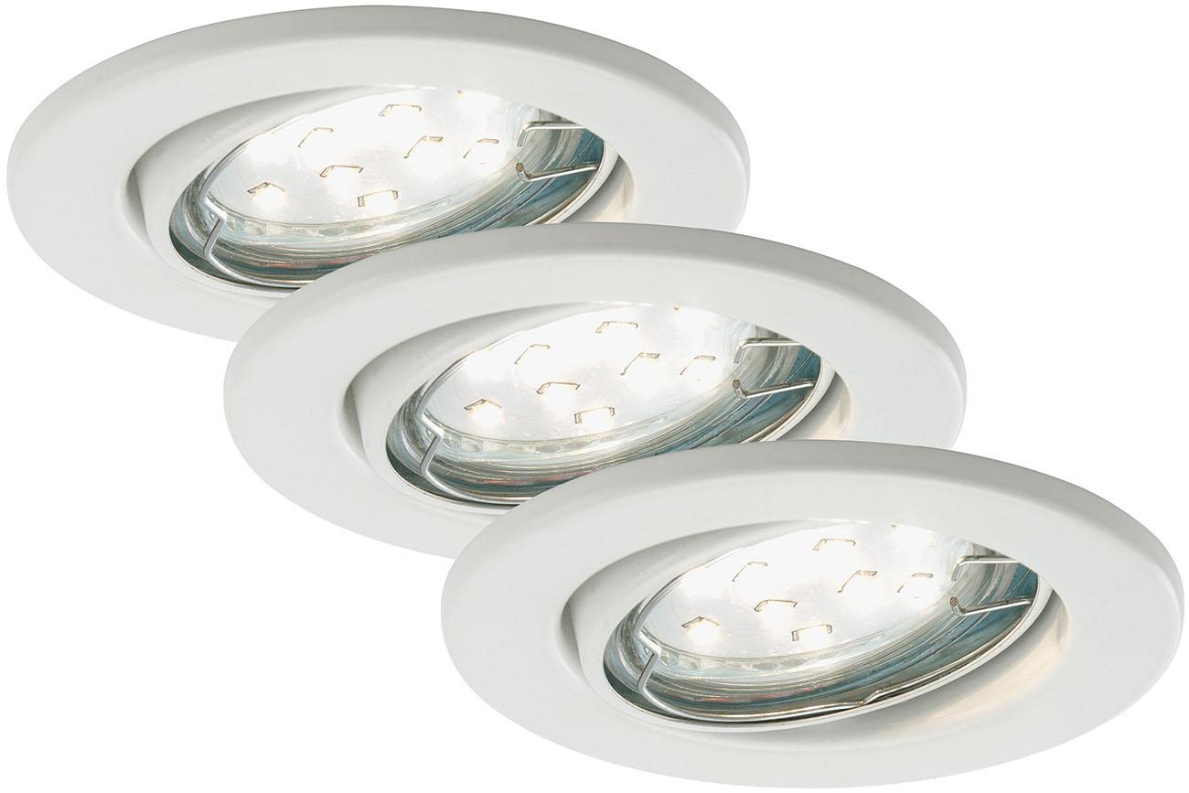 3er Set LED Einbauleuchte, Ø 8,6 cm, 3 W, Weiss