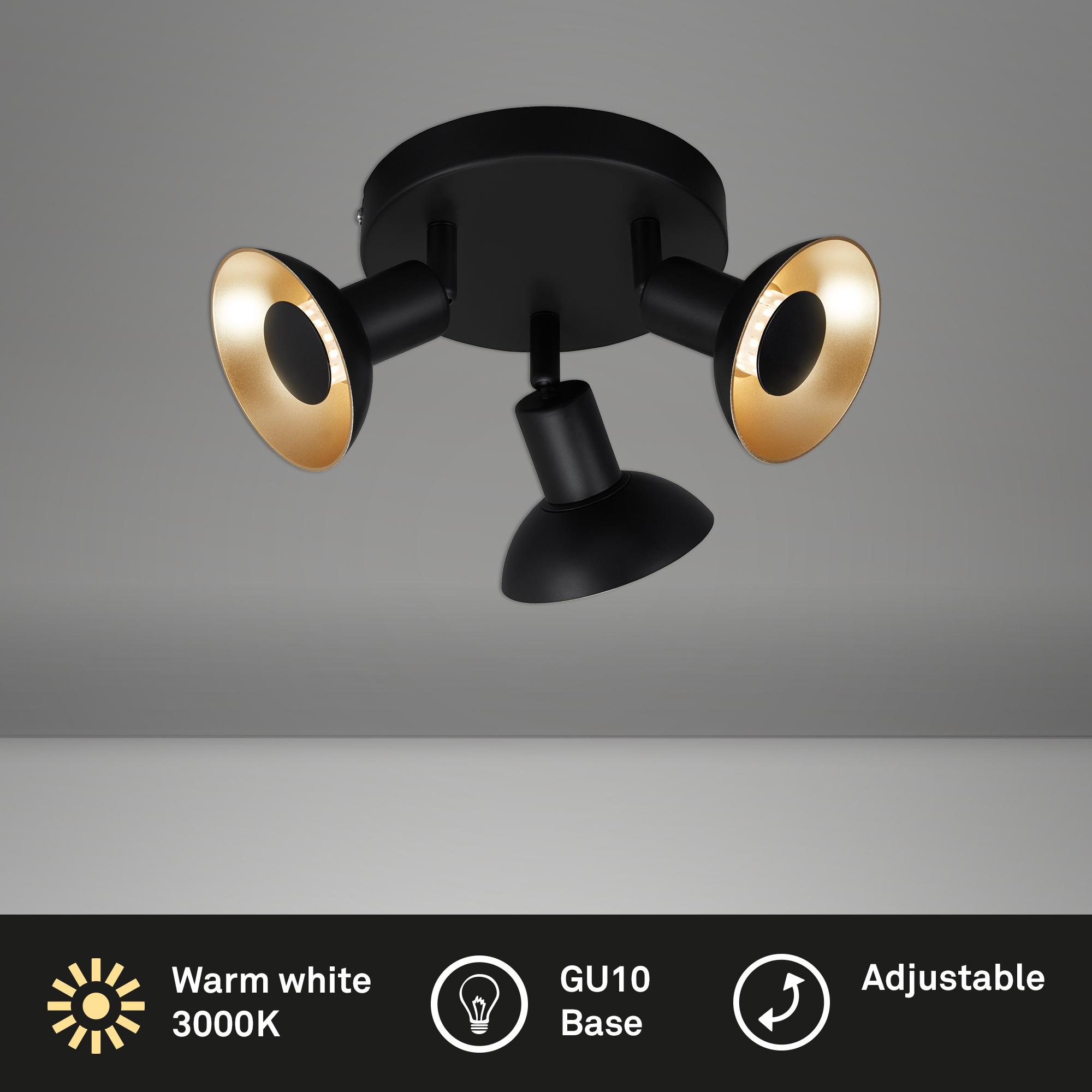 Spot Deckenleuchte, Ø 16 cm, 15 W, Schwarz-Gold