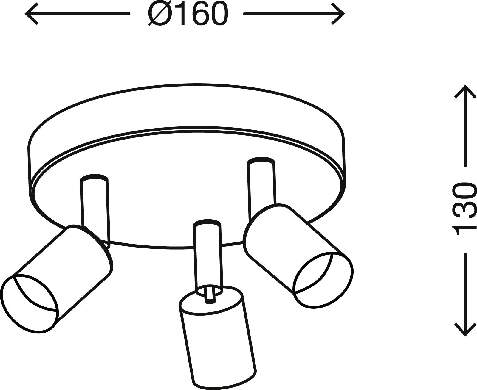 Spot Deckenleuchte, Ø 16 cm, max. 35 W, Matt-Nickel