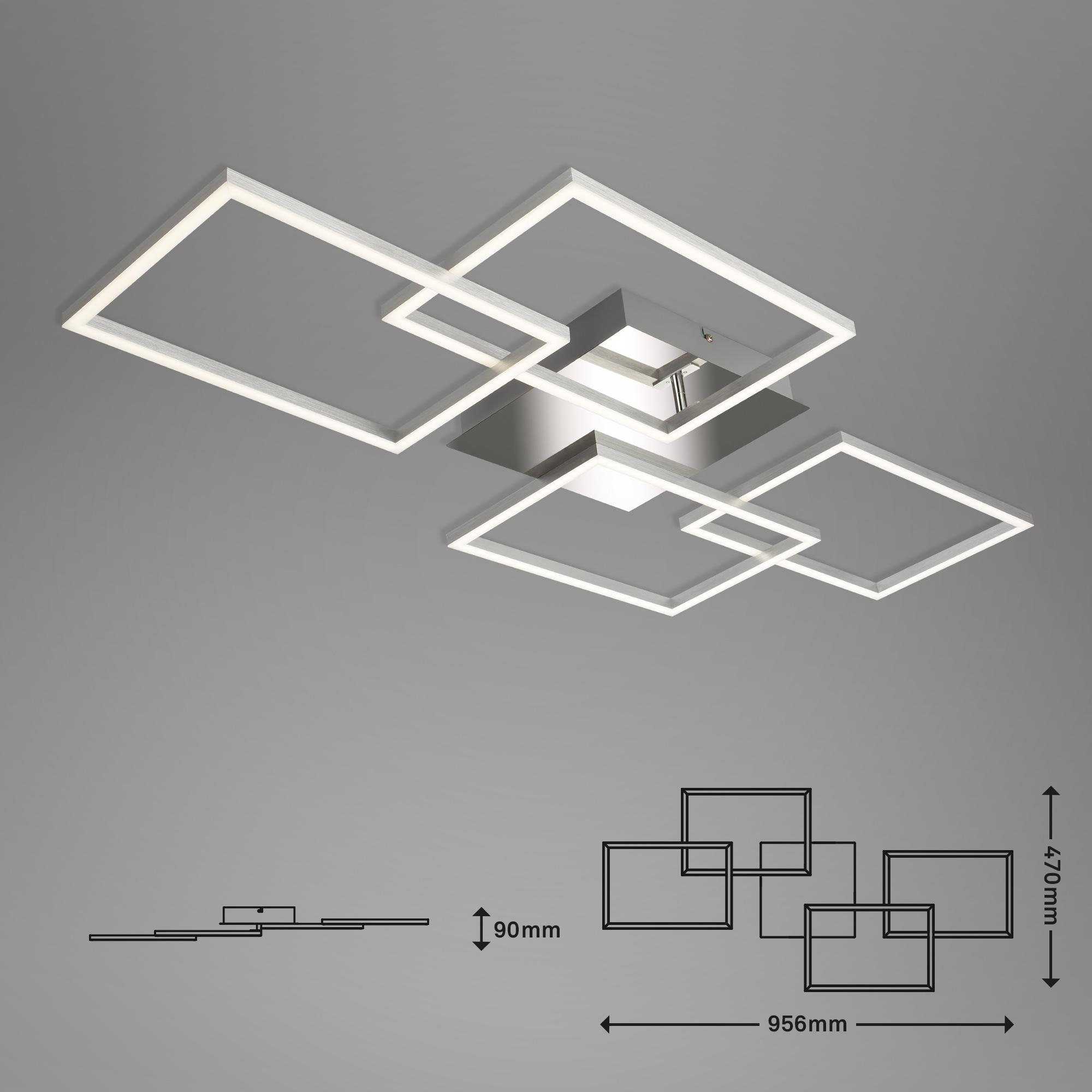 LED Deckenleuchte, 95,6 cm, 30 W, Chrom-Alu