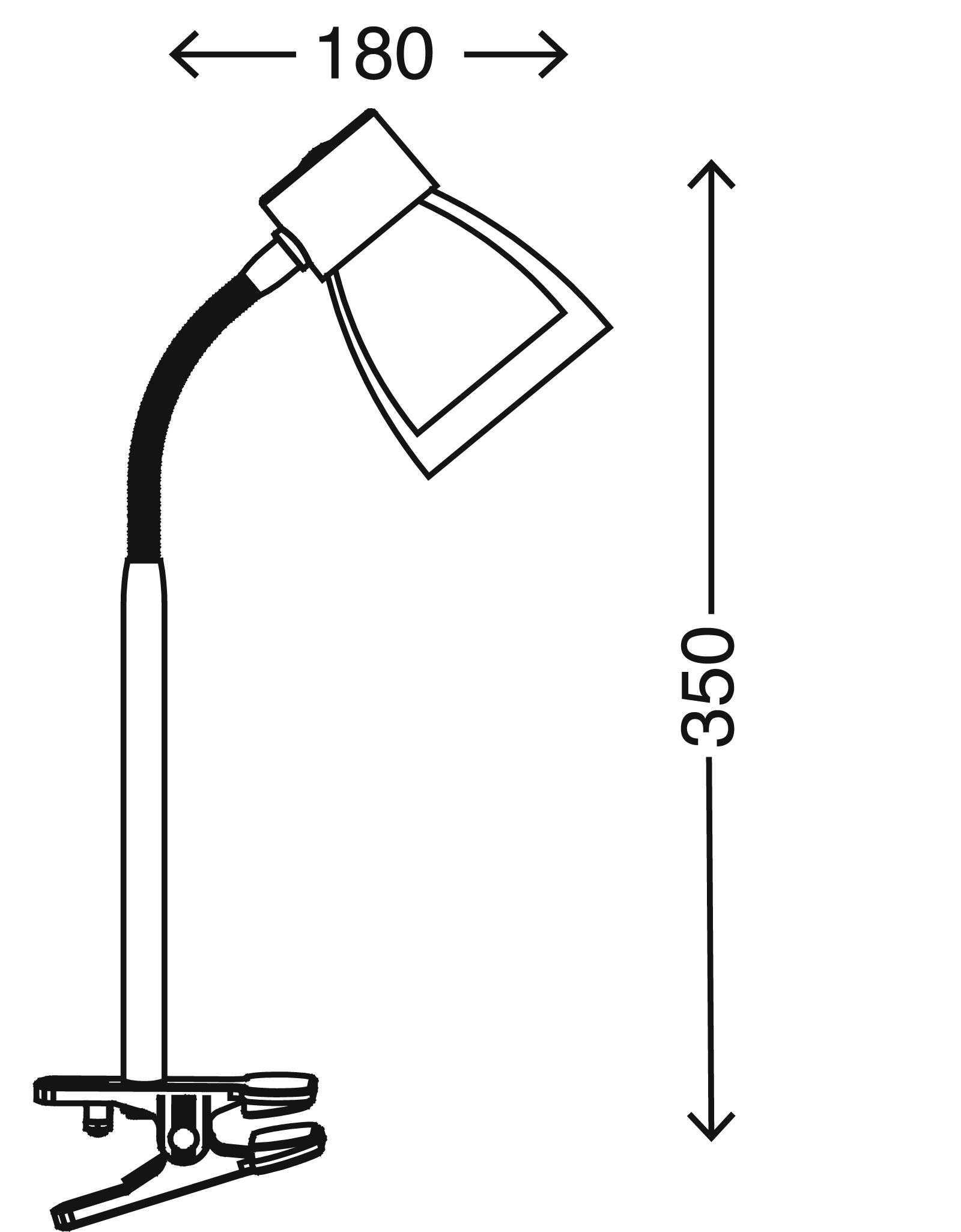Klemmleuchte, 8 cm, max. 40 W, Titan