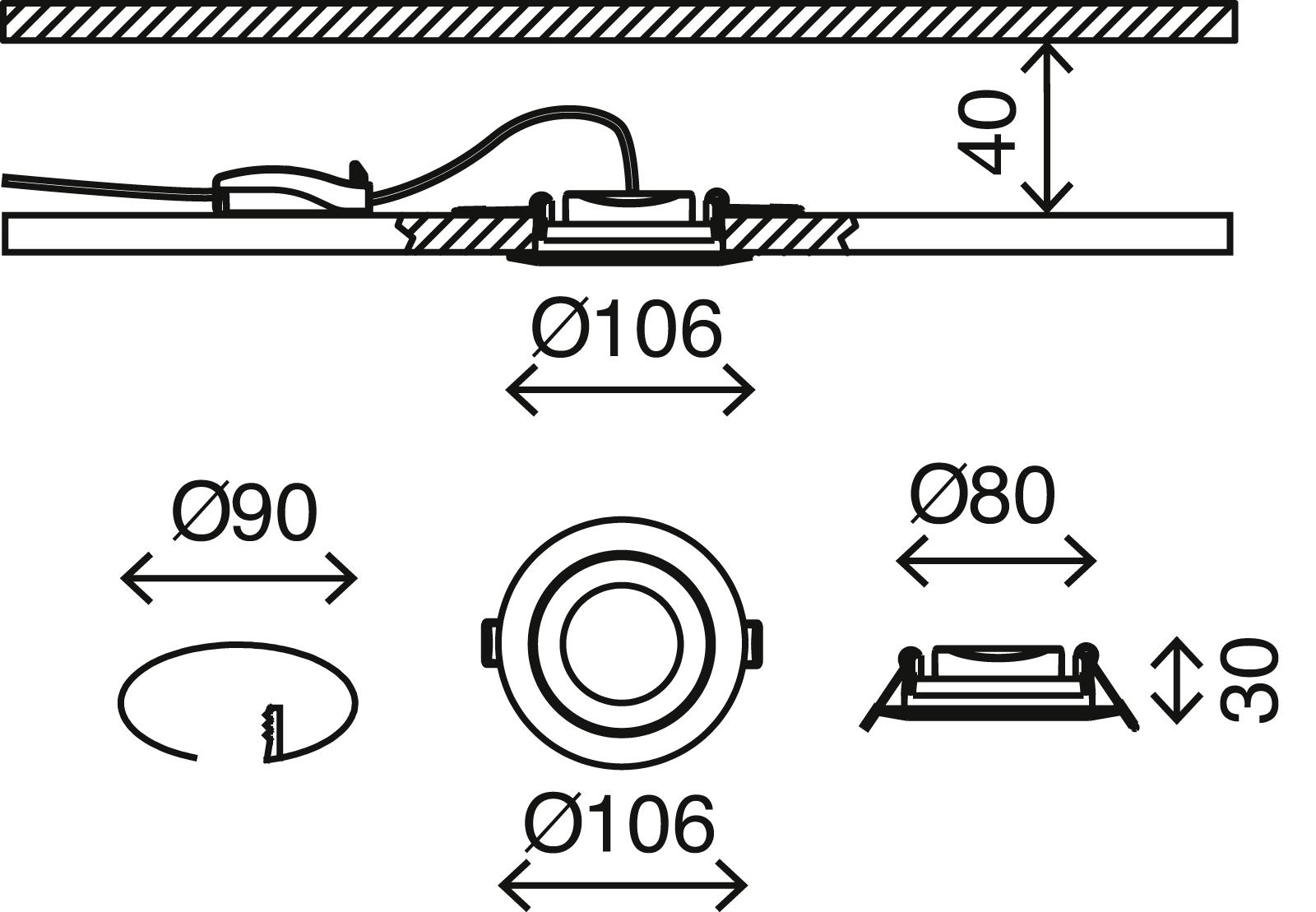 LED Einbauleuchte, Ø 10,6 cm, 6 W, Weiß