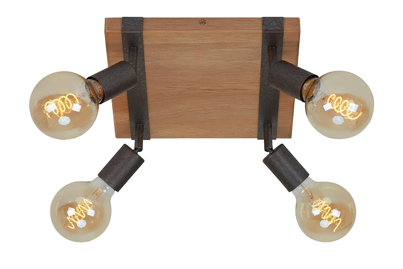 Spot Deckenleuchte, 28 cm, max. 25 W, Gunmetal-Holz