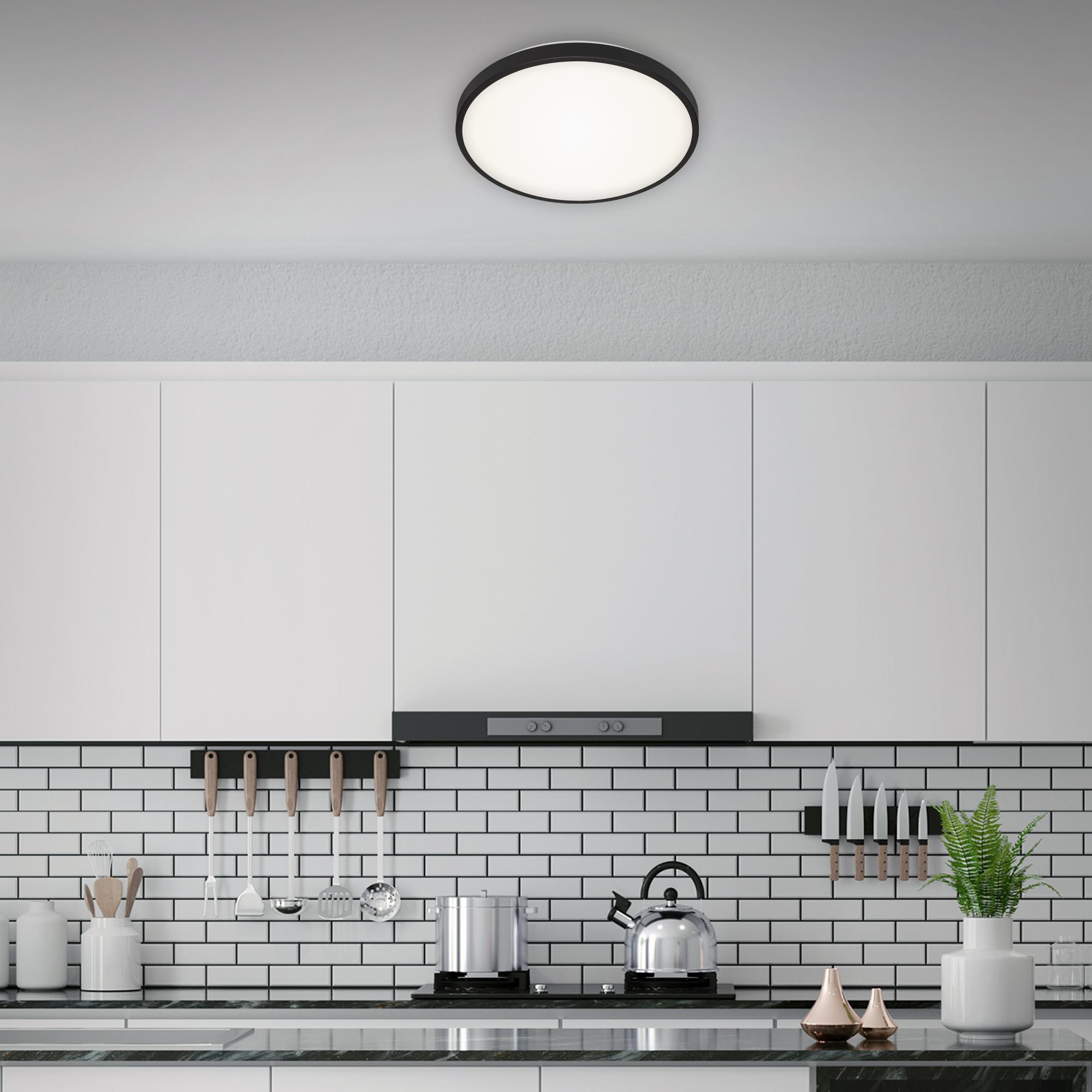 LED Deckenleuchte, Ø 38,5 cm, 24 W, Schwarz