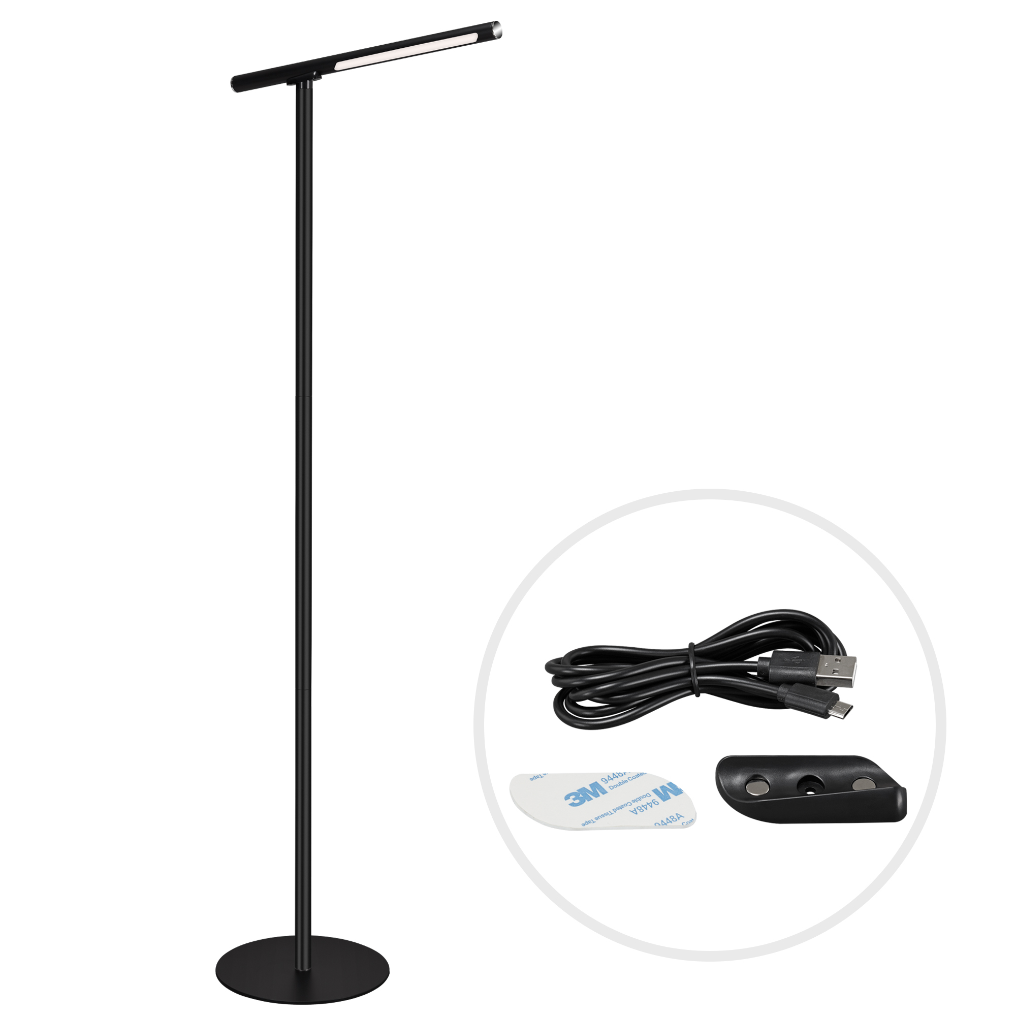 USB LED Wand- und Stehleuchte Schwarz
