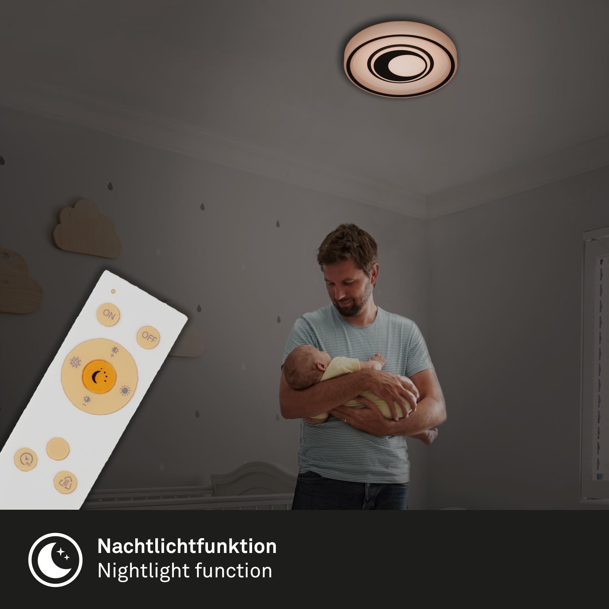 CCT LED Deckenleuchte, Ø 49 cm, 42 W, Schwarz-Weiß