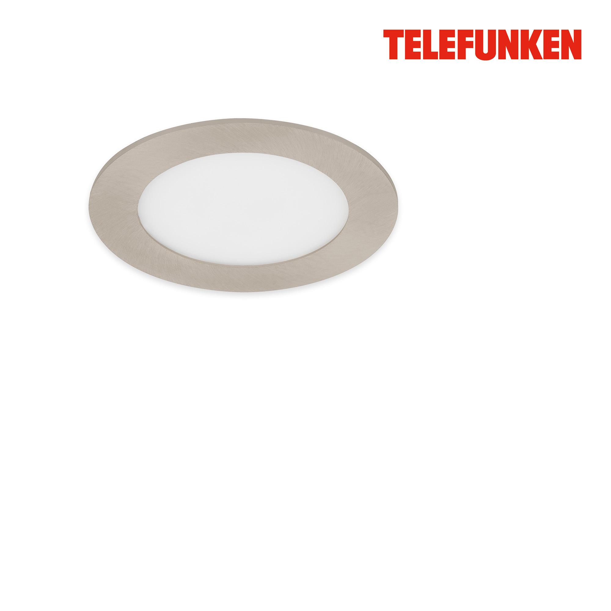TELEFUNKEN Smart LED Einbauleuchte, Ø 12 cm, 6 W, Matt-Nickel