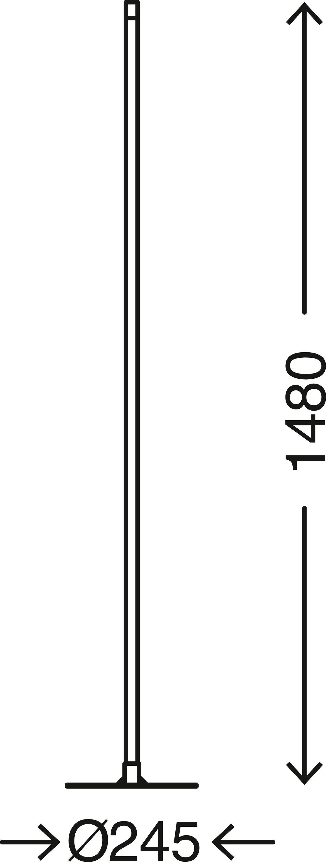 LED Stehleuchte, 148 cm, 17,3 W, Matt-Nickel