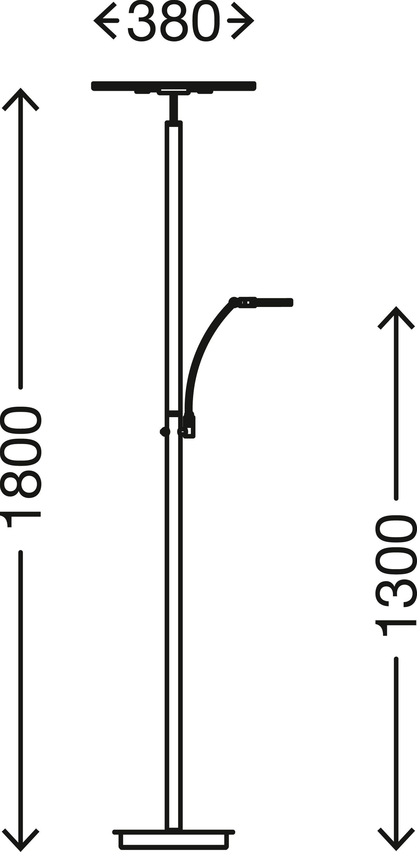 LED Fluter mit Lesearm, 180 cm, 36 W, Matt-Nickel