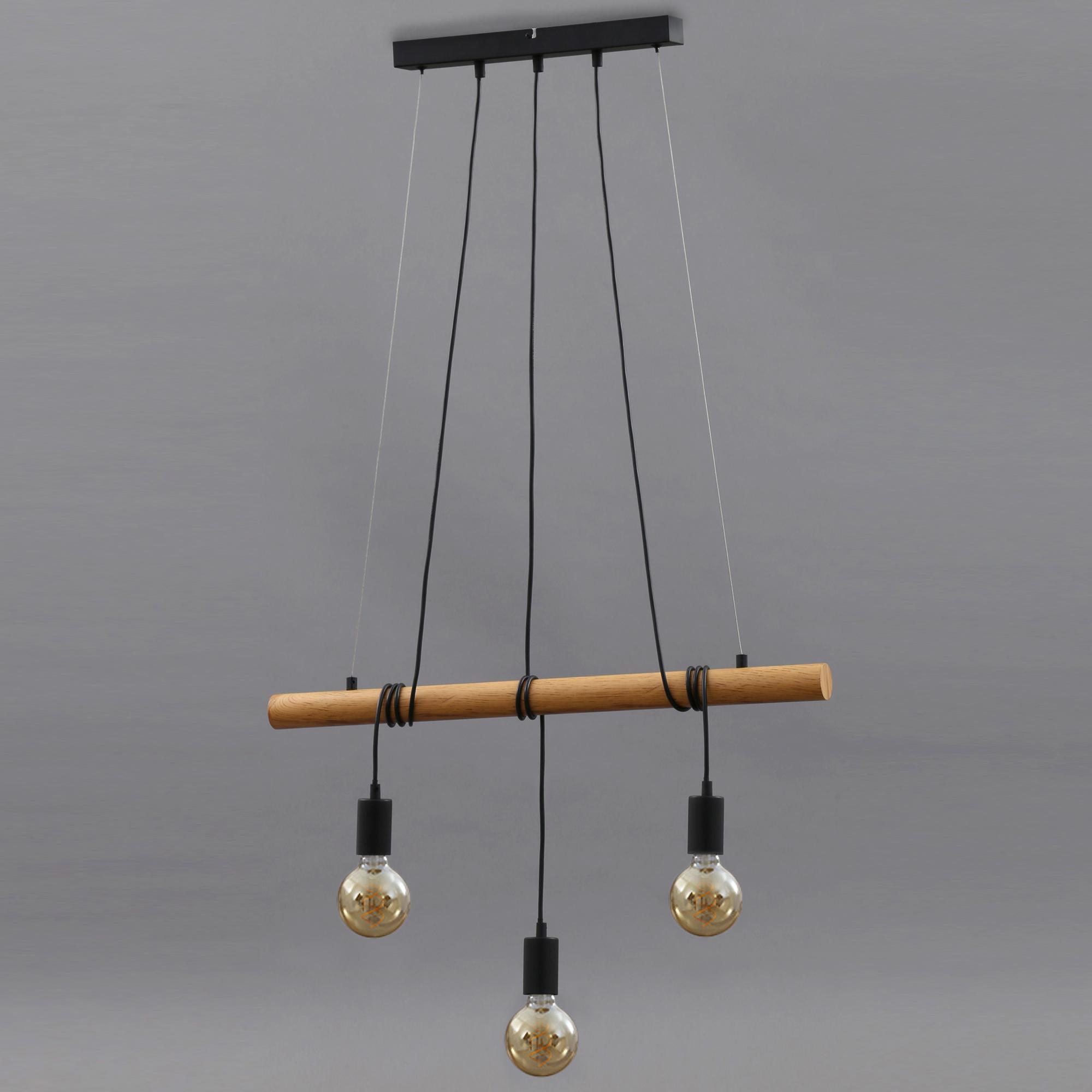 Pendelleuchte, 70 cm, max. 25 W, Holz-Grau