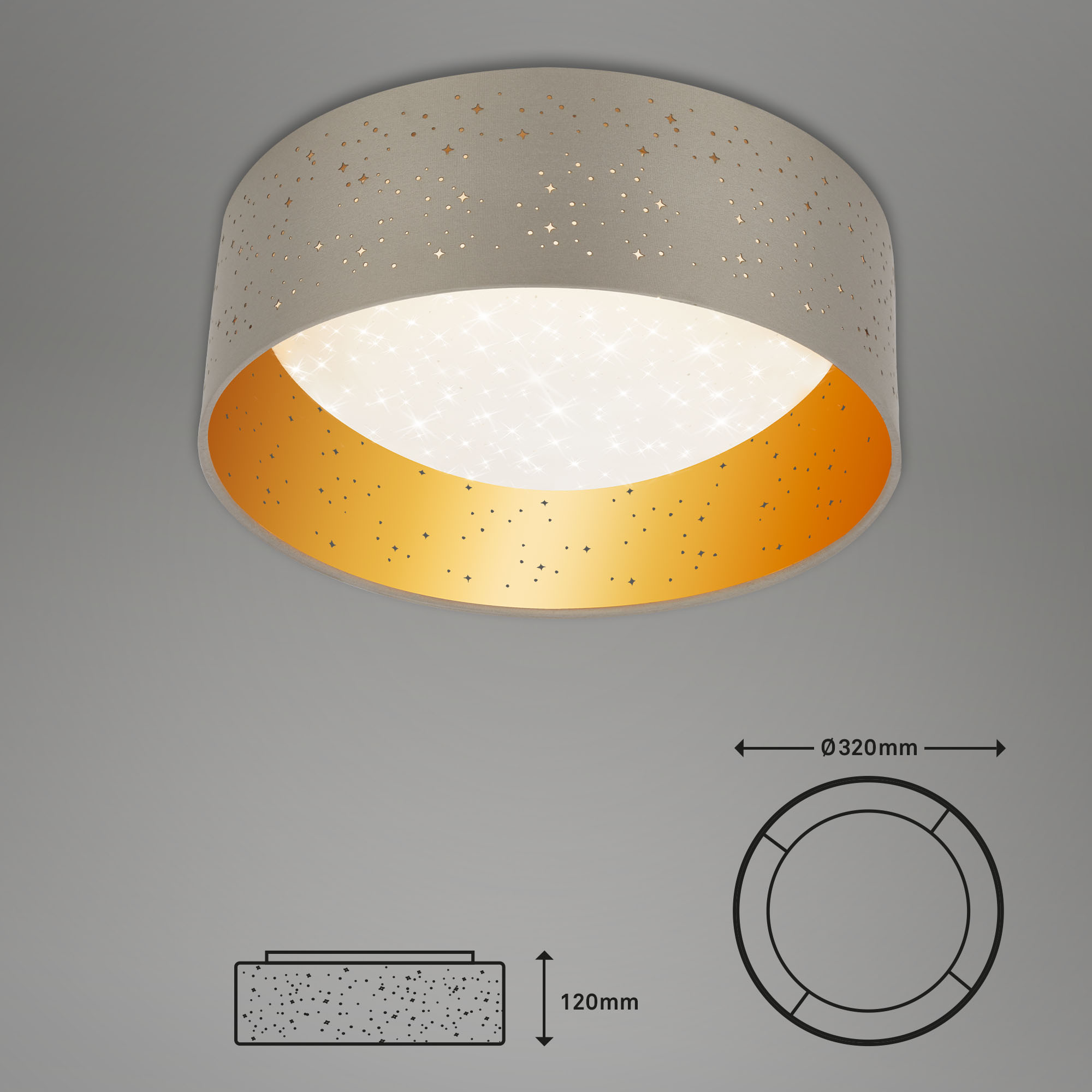 STERNENHIMMEL LED Deckenleuchte, Ø 32 cm, 12 W, Taupe-Gold