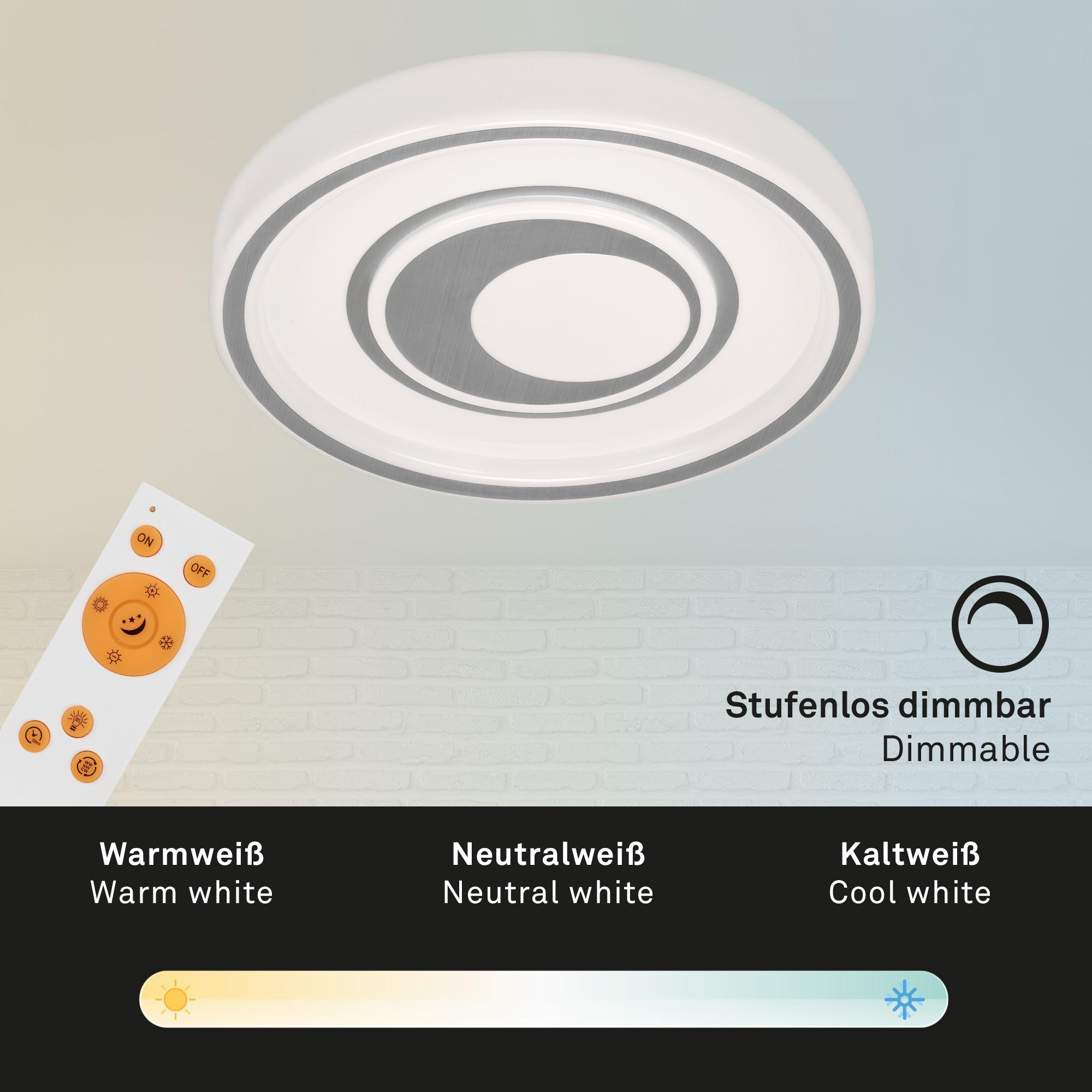 CCT LED Deckenleuchte, Ø 49 cm, 42 W, Alu-Weiß