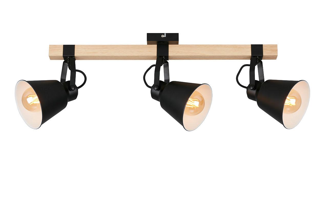LED Spot Deckenleuchte, 83,6 cm, max. 40 W, Schwarz-Holz