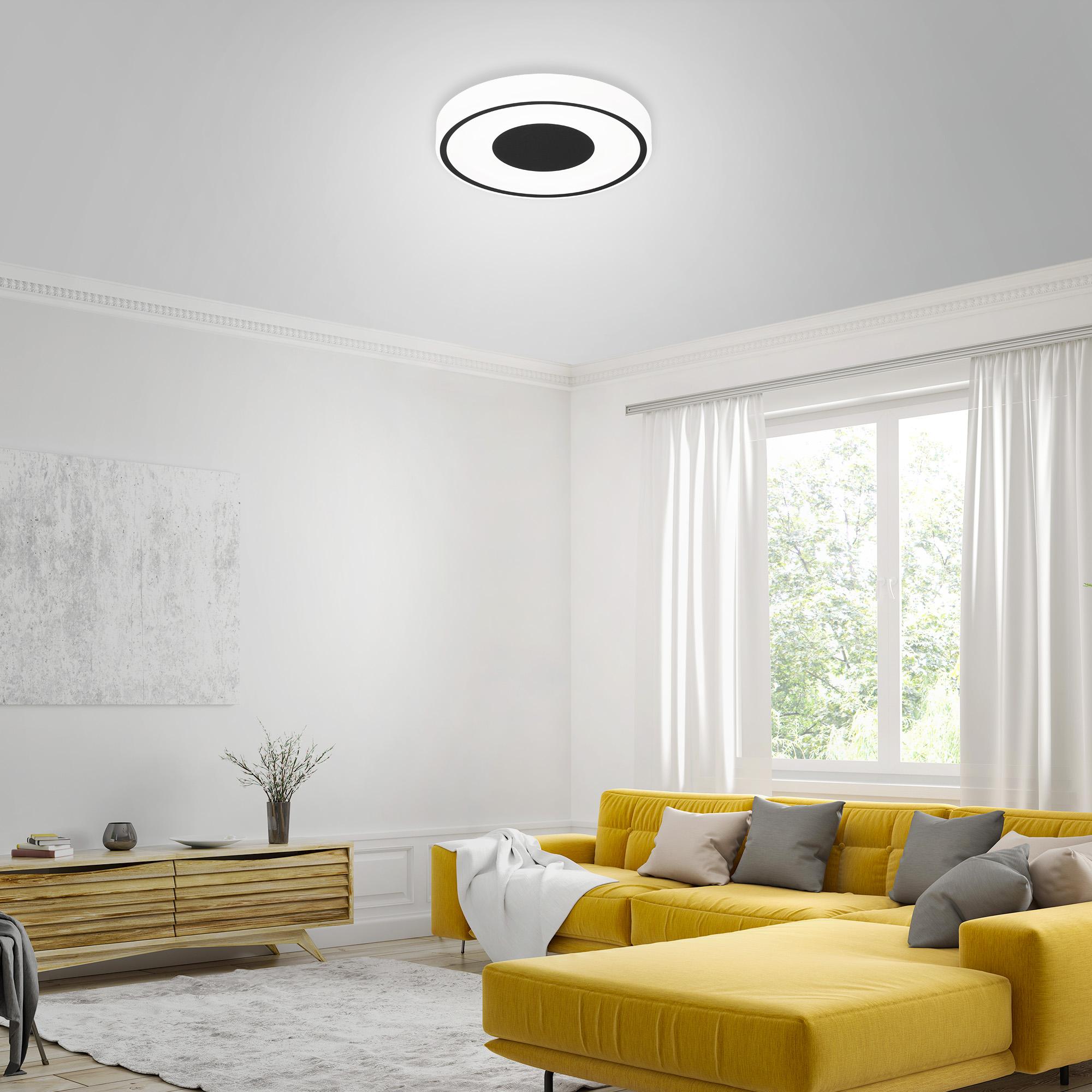 LED Deckenleuchte, Ø 38,5 cm, 18 W, Schwarz-Weiss