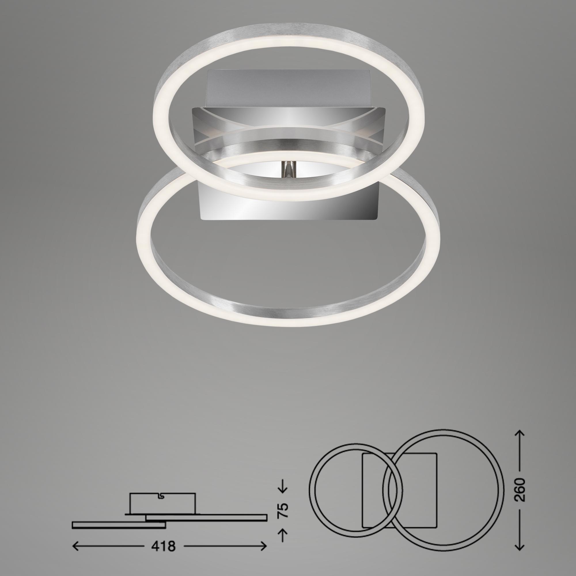 LED Deckenleuchte, 41,8 cm, 16 W, Alu-Chrom