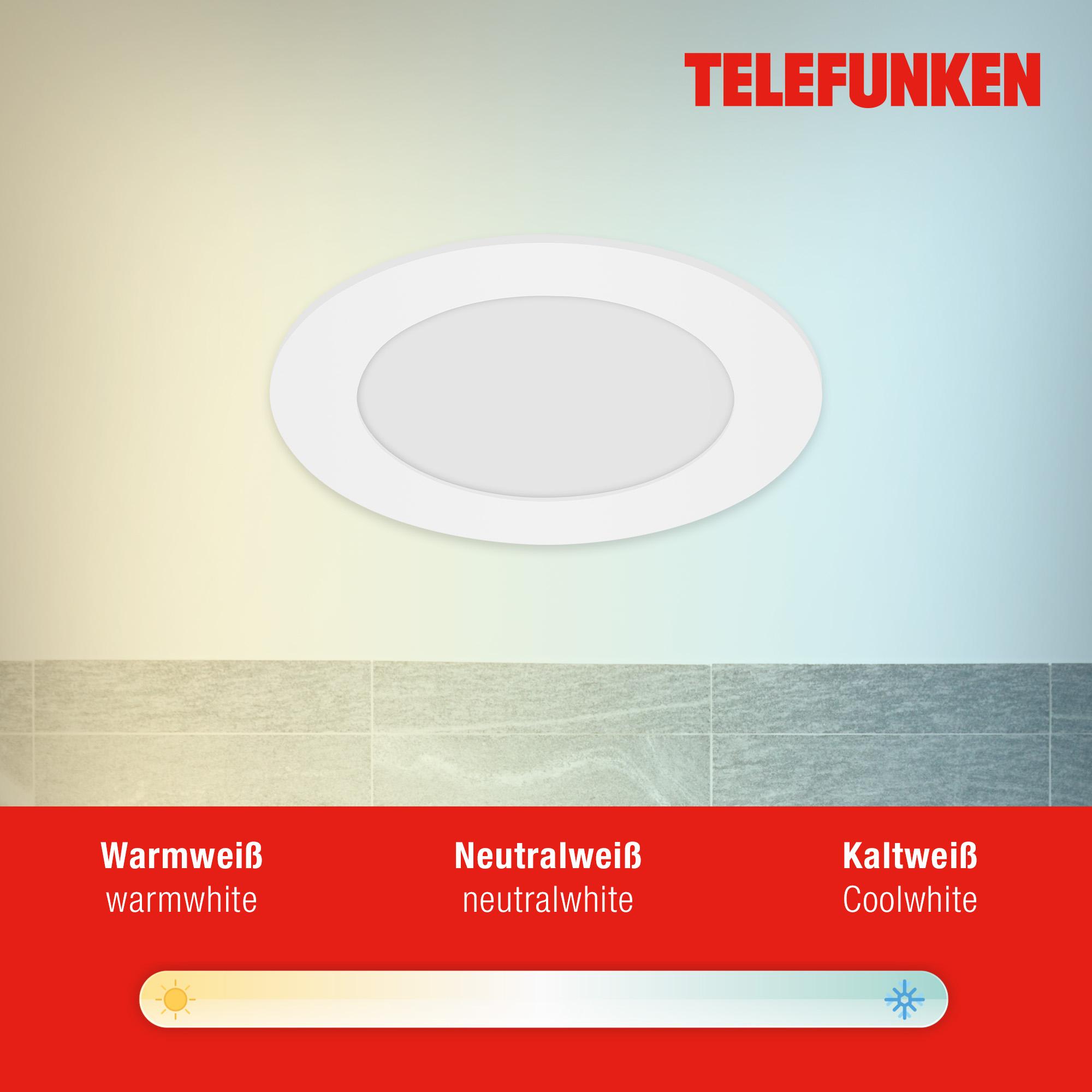 TELEFUNKEN Smart LED Einbauleuchte, Ø 12 cm, 6 W, Weiss