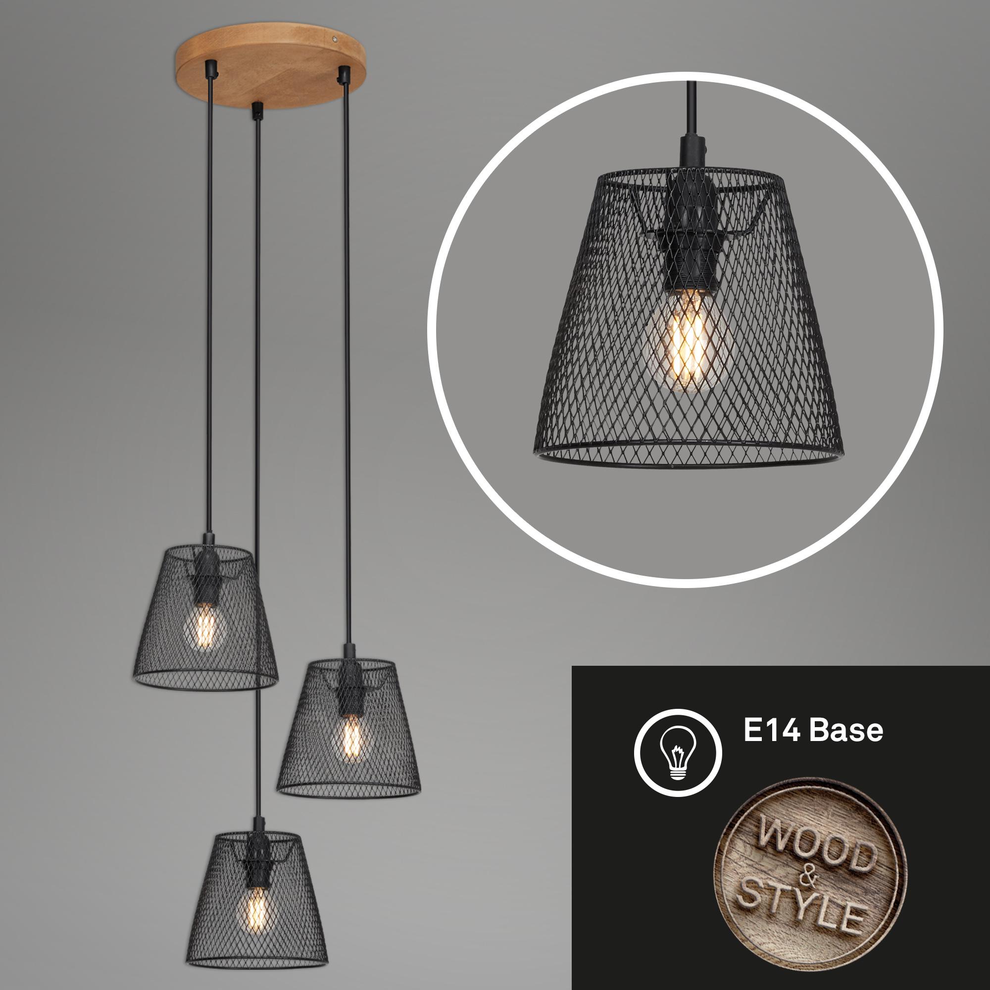 LED Pendelleuchte, Ø 21 cm, max. 40 W, Schwarz