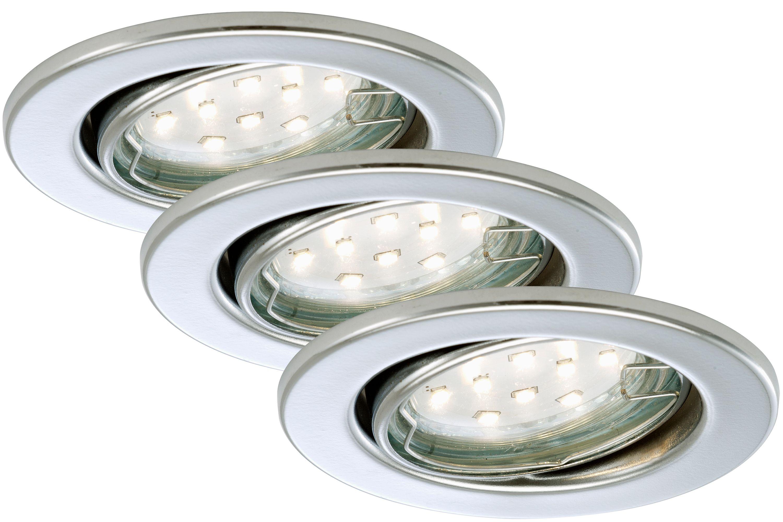 3er Set LED Einbauleuchte, Ø 8,6 cm, 3 W, Chrom