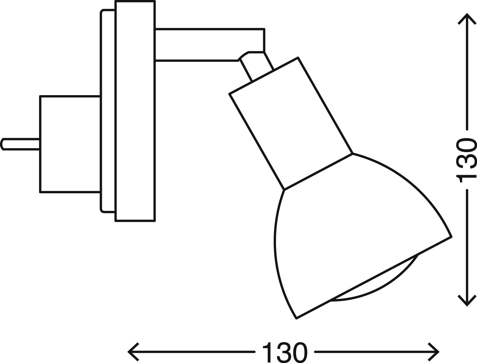 Steckerleuchte, 7 cm, max. 25 W, Matt-Nickel