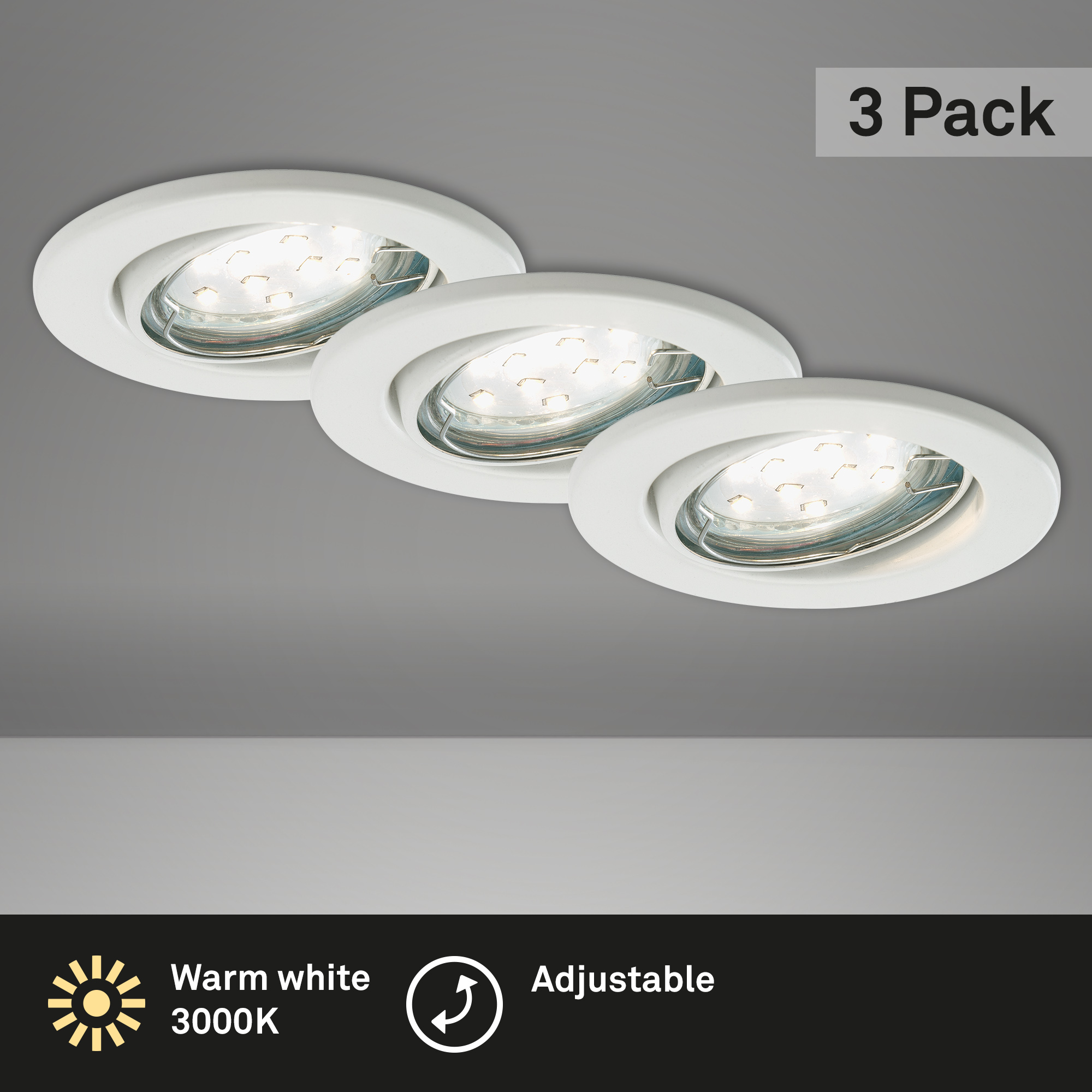 3er Set LED Einbauleuchte, Ø 8,6 cm, 3 W, Weiß