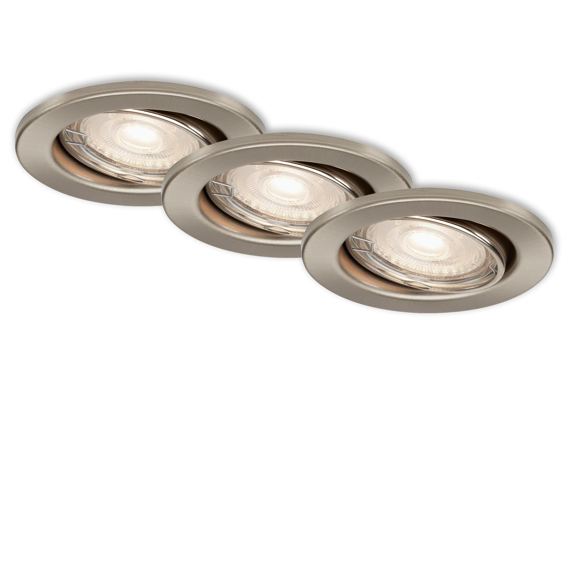 3er Set LED Einbauleuchte, Ø 8,6 cm, 3,5 W, Matt-Nickel