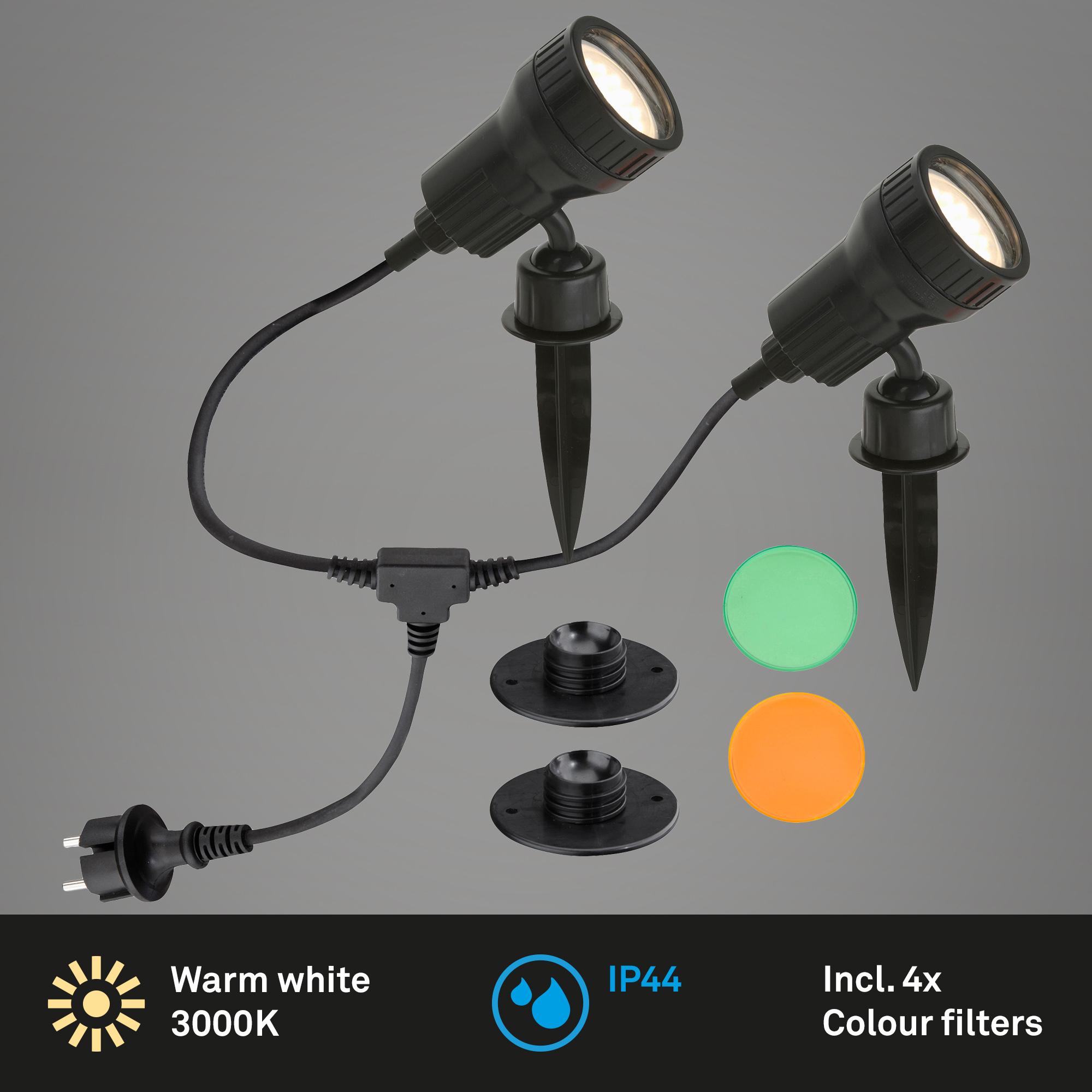 LED Doppel-Außenstrahler Schwarz