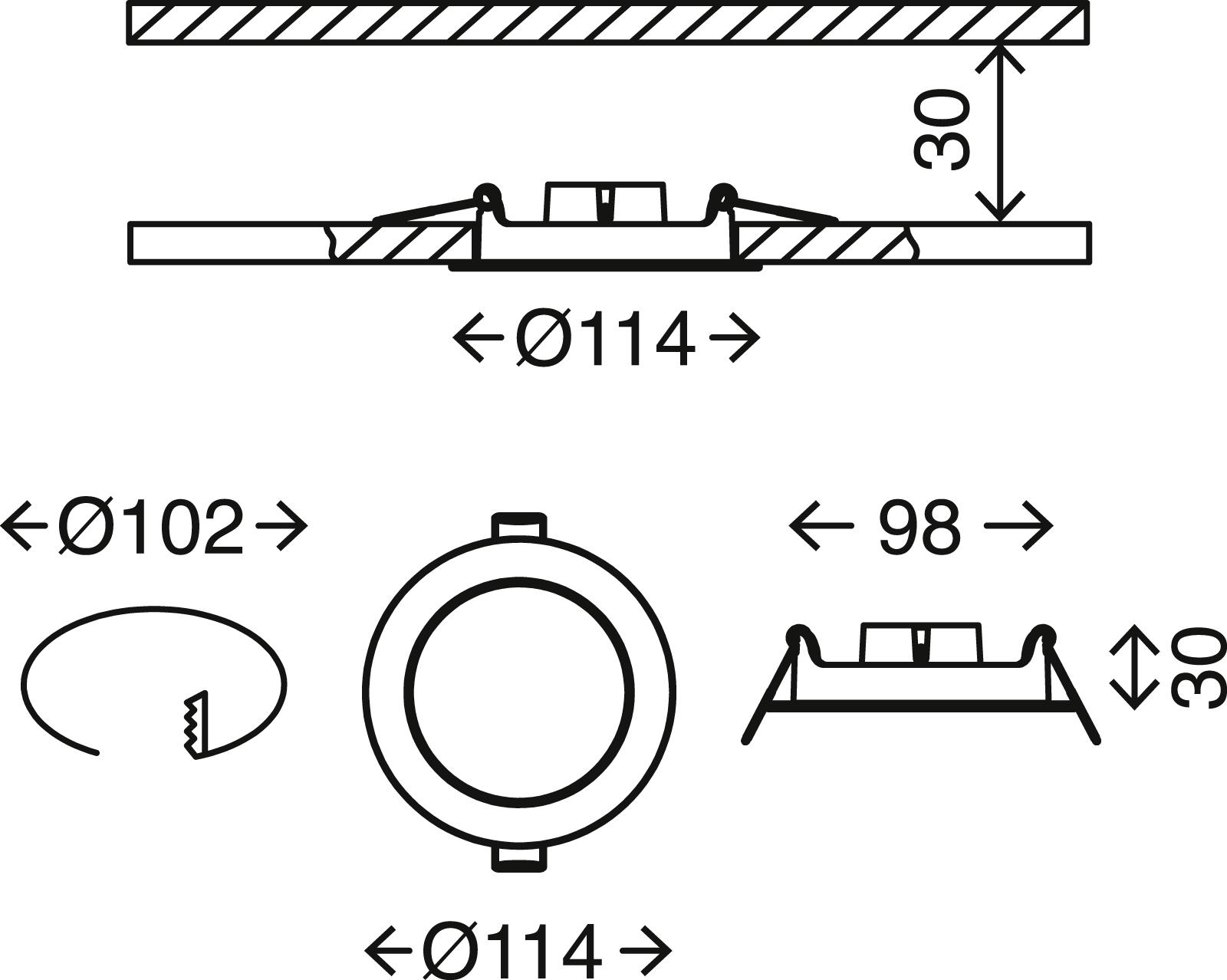 3er Set LED Einbauleuchte, Ø 11,4 cm, 6 W, Weiss