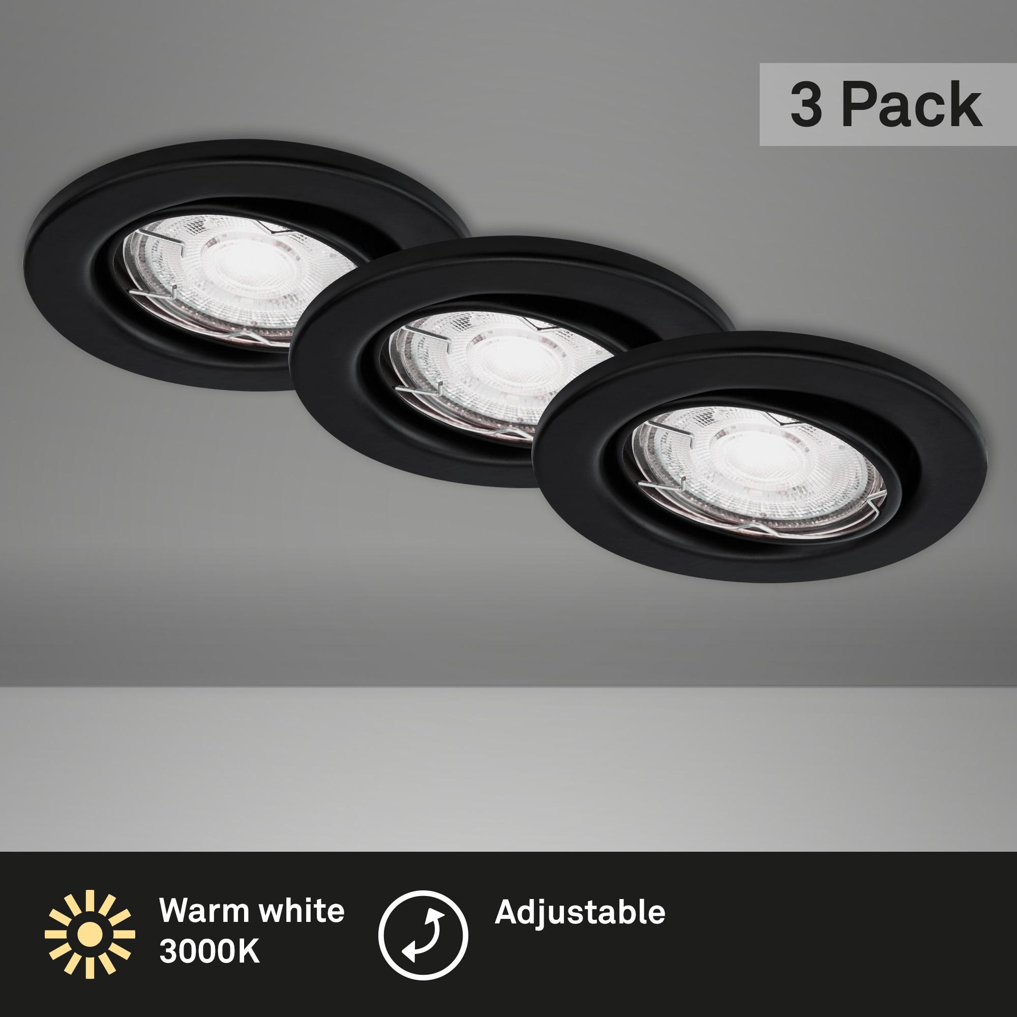 3er Set LED Einbauleuchte Schwarz