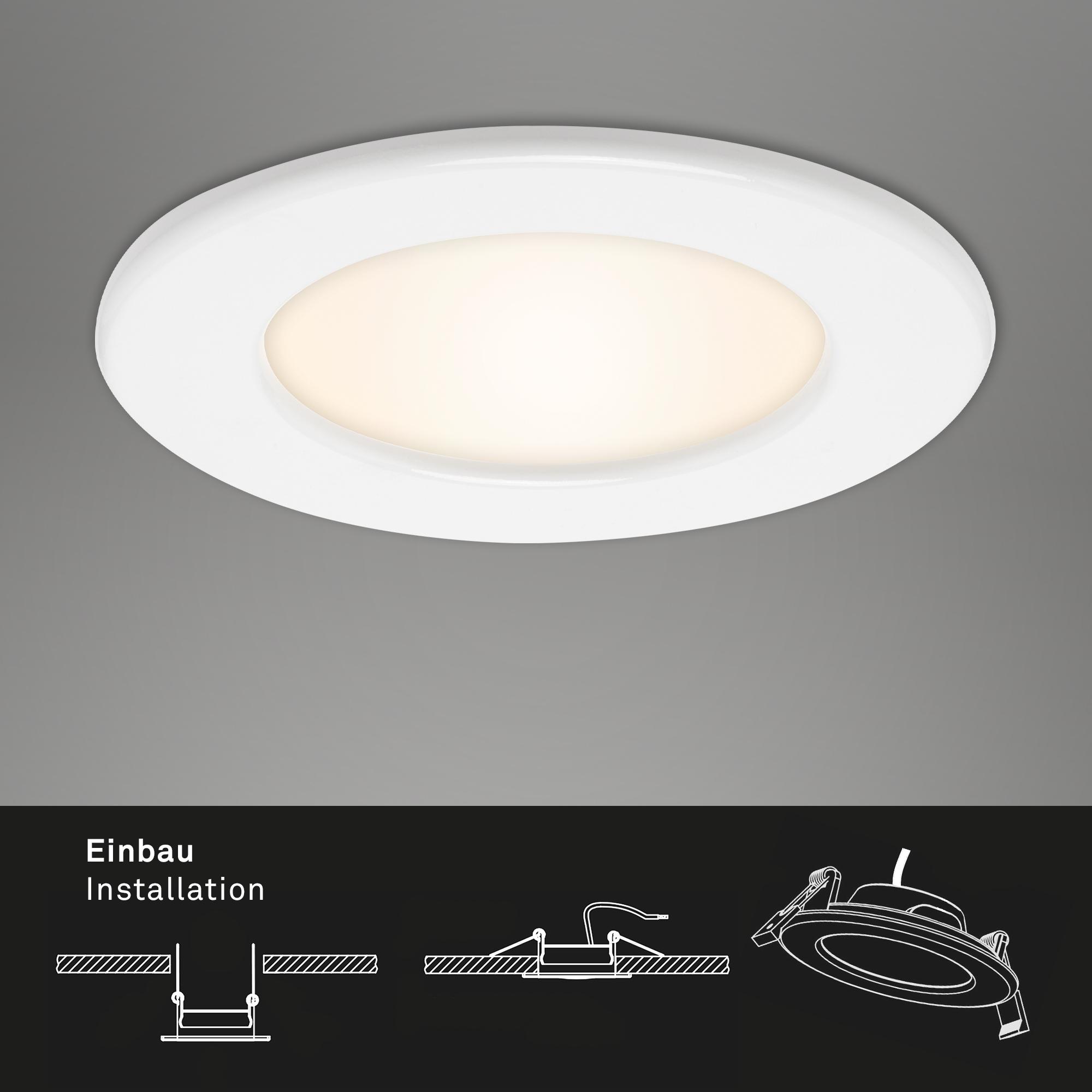 LED Einbauleuchte, Ø 11,5 cm, 6 W, Weiß
