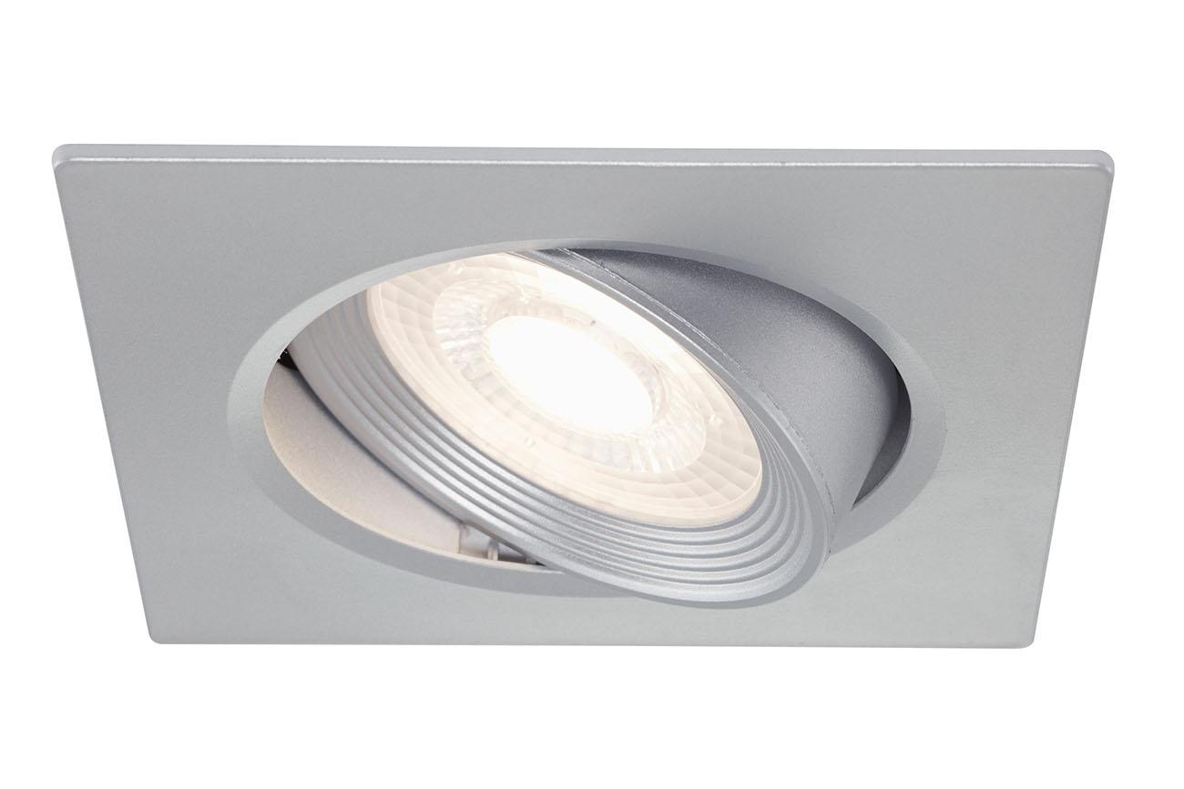3er Set LED Einbauleuchte, 9 cm, 5 W, Silber