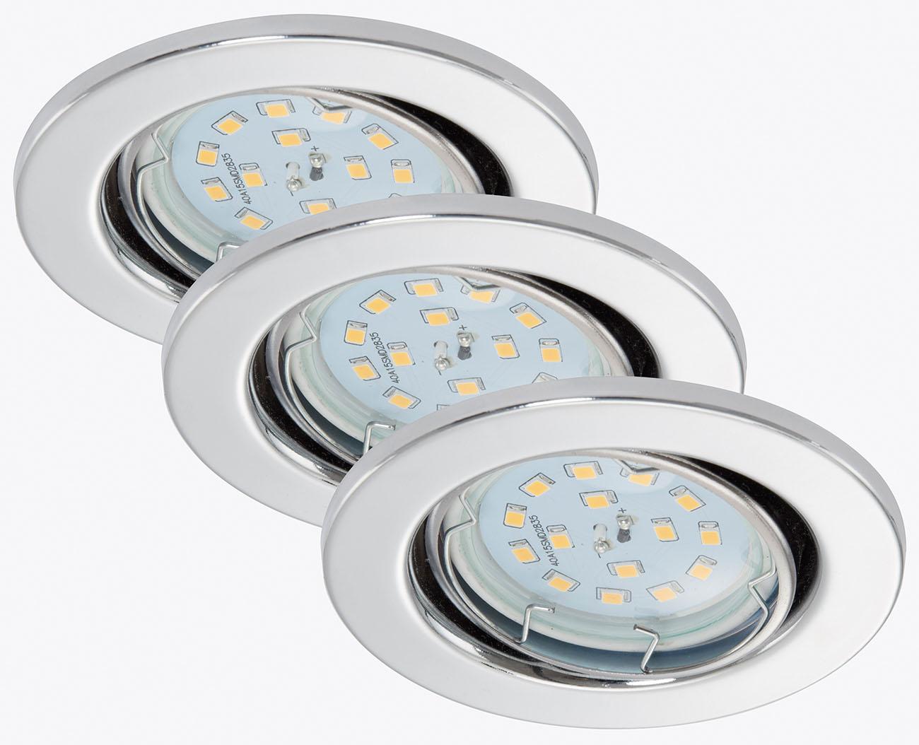 3er Set LED Einbauleuchte, Ø 8,6 cm, 5 W, Chrom