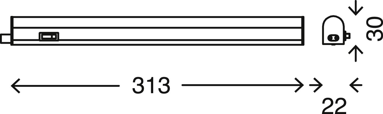 LED Unterbauleuchte, 31,3 cm, 4 W, Weiß
